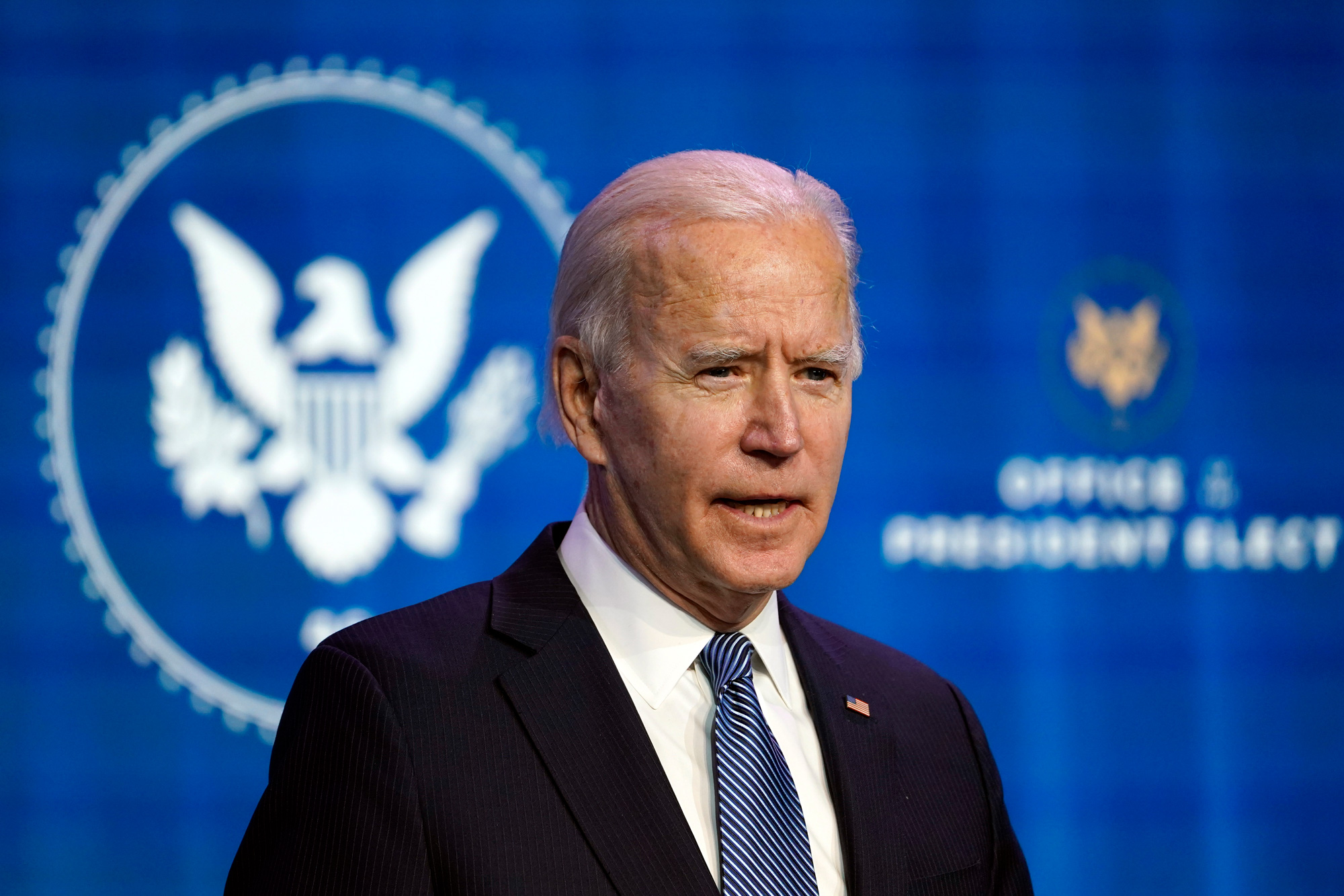 President-elect Joe Biden speaks during an event at The Queen theater in Wilmington, Delaw, Thursday, January 7.