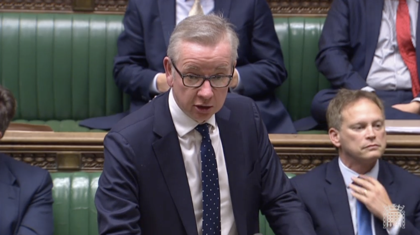 Michael Gove in the House of Commonns Monday night.