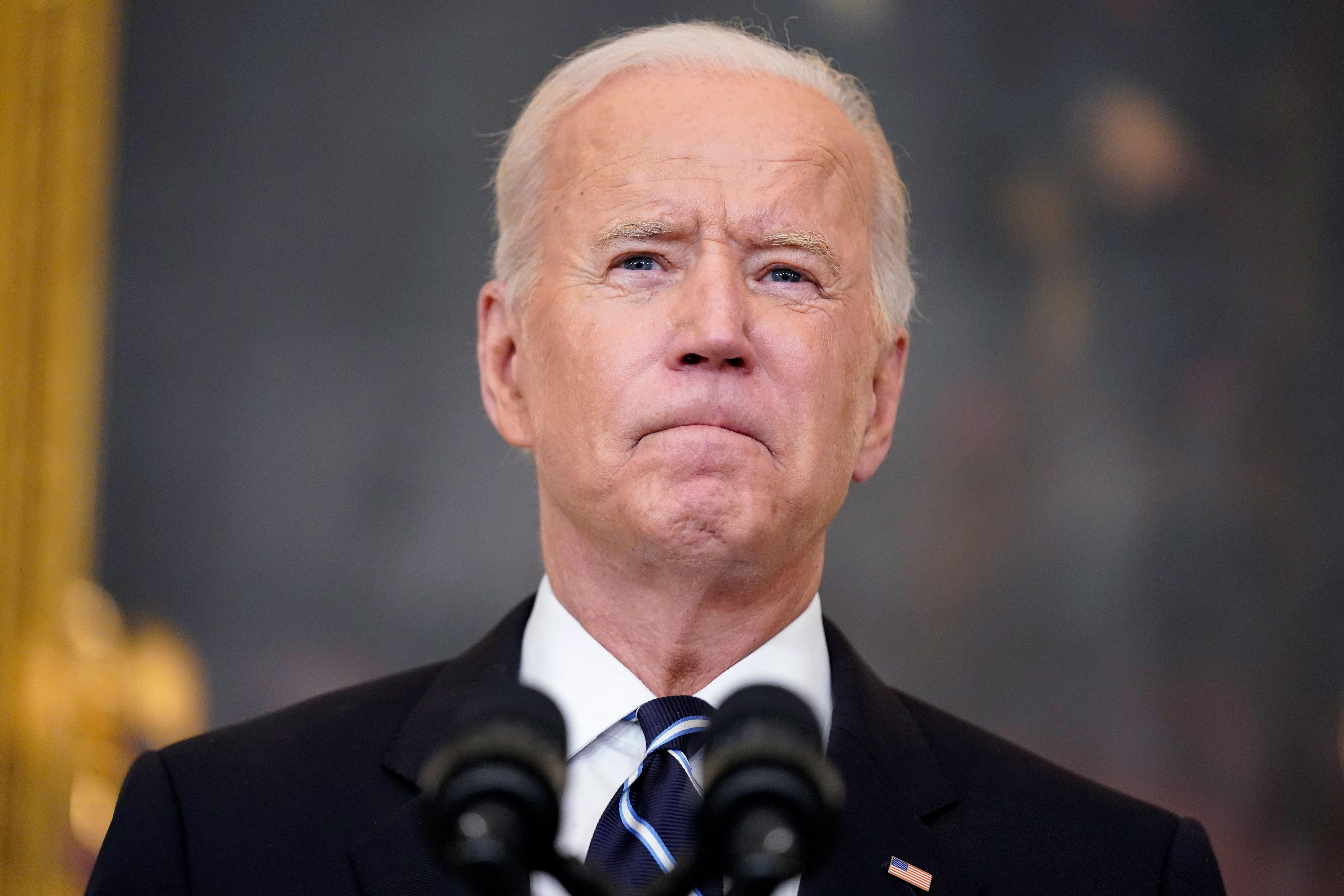 President Joe Biden pauses as he speaks from the White House on September 9.