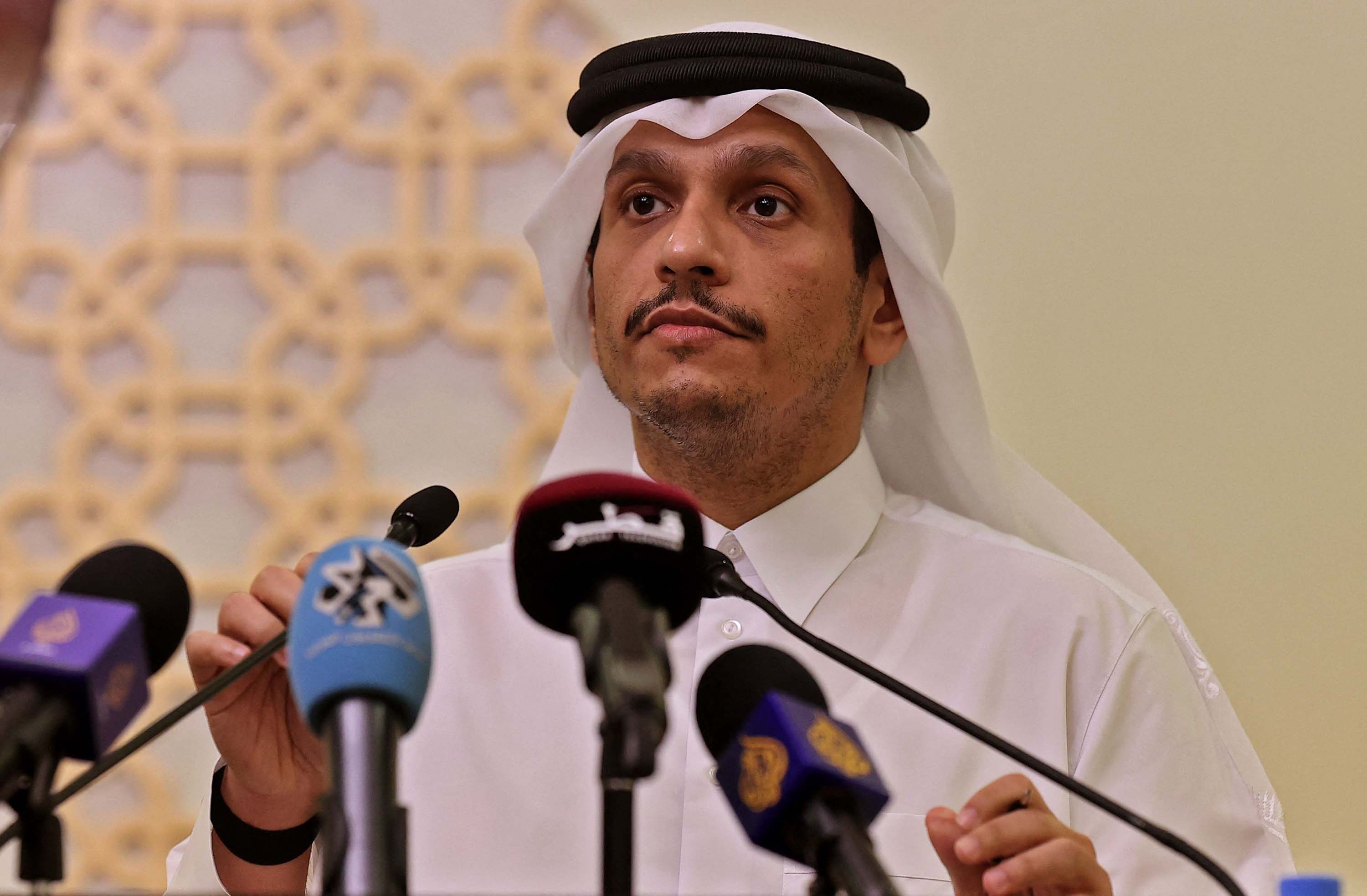 Qatar's Foreign Minister Sheikh Mohammed bin Abdulrahman Al-Thani speaks during a press conference in Doha, Qatar, on September 2.