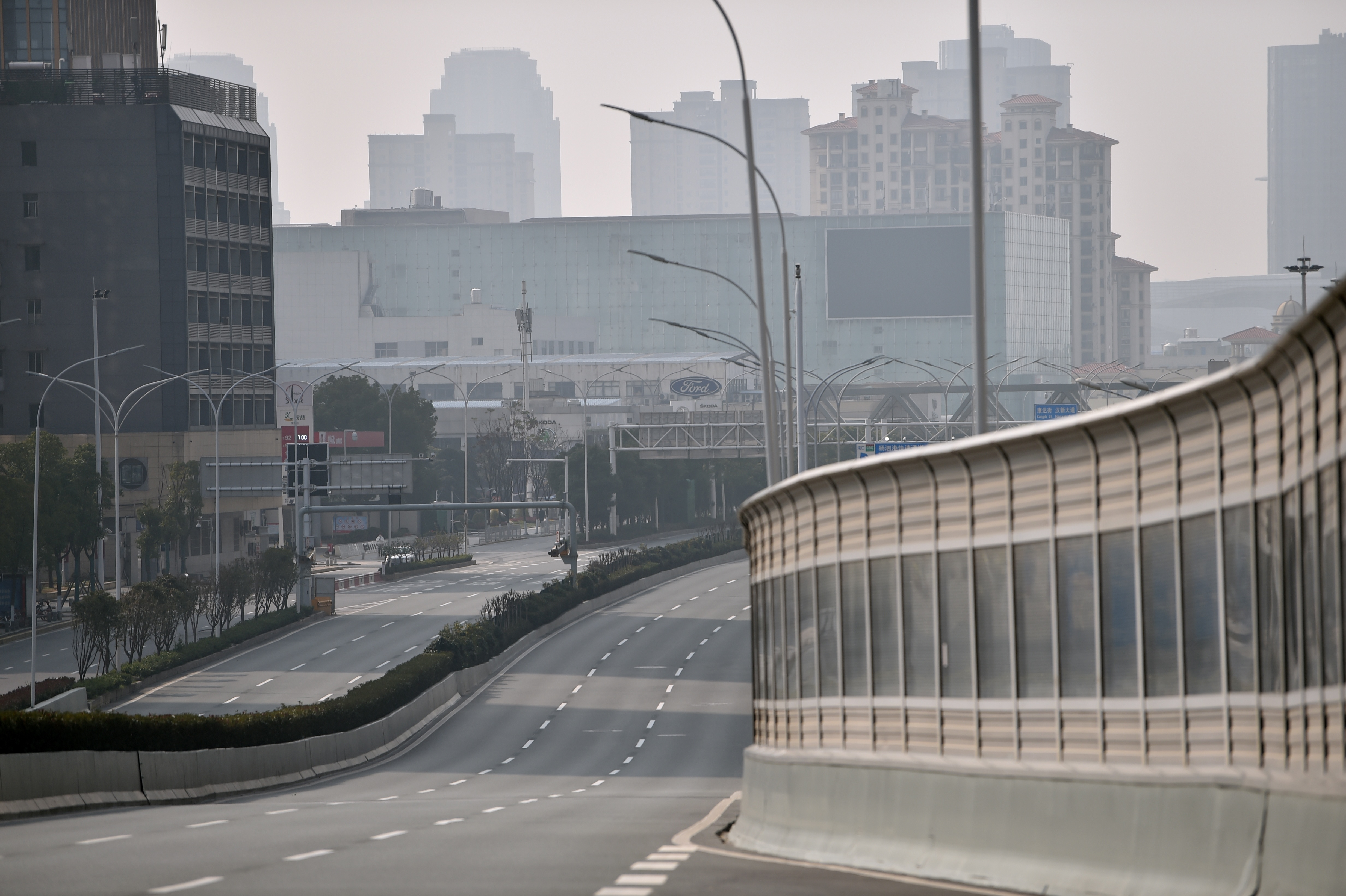 A major road in Wuhan city is deserted as people stay at home on January 29, 2020.