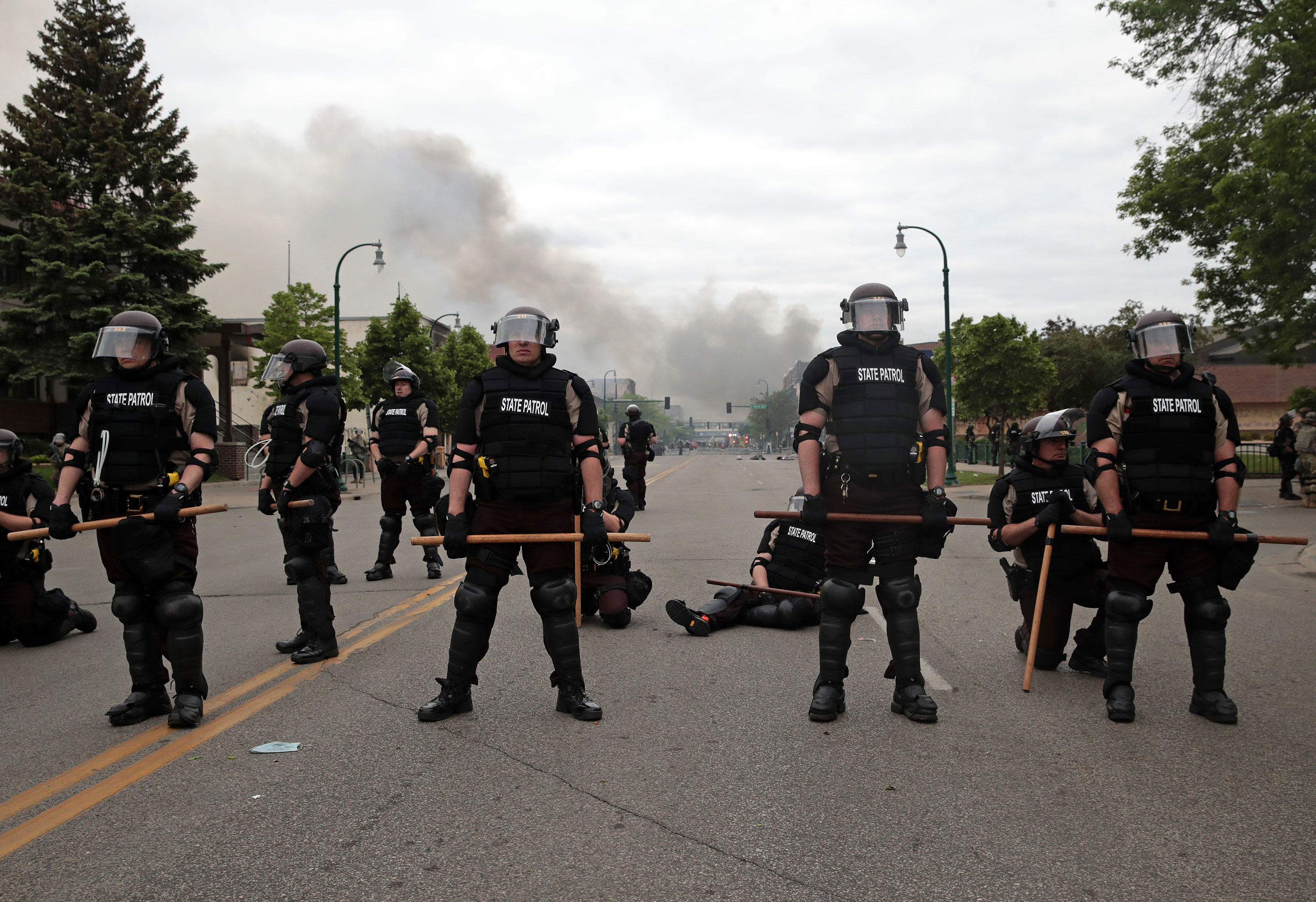 State patrol officers block a road in Minneapolis on May 29.