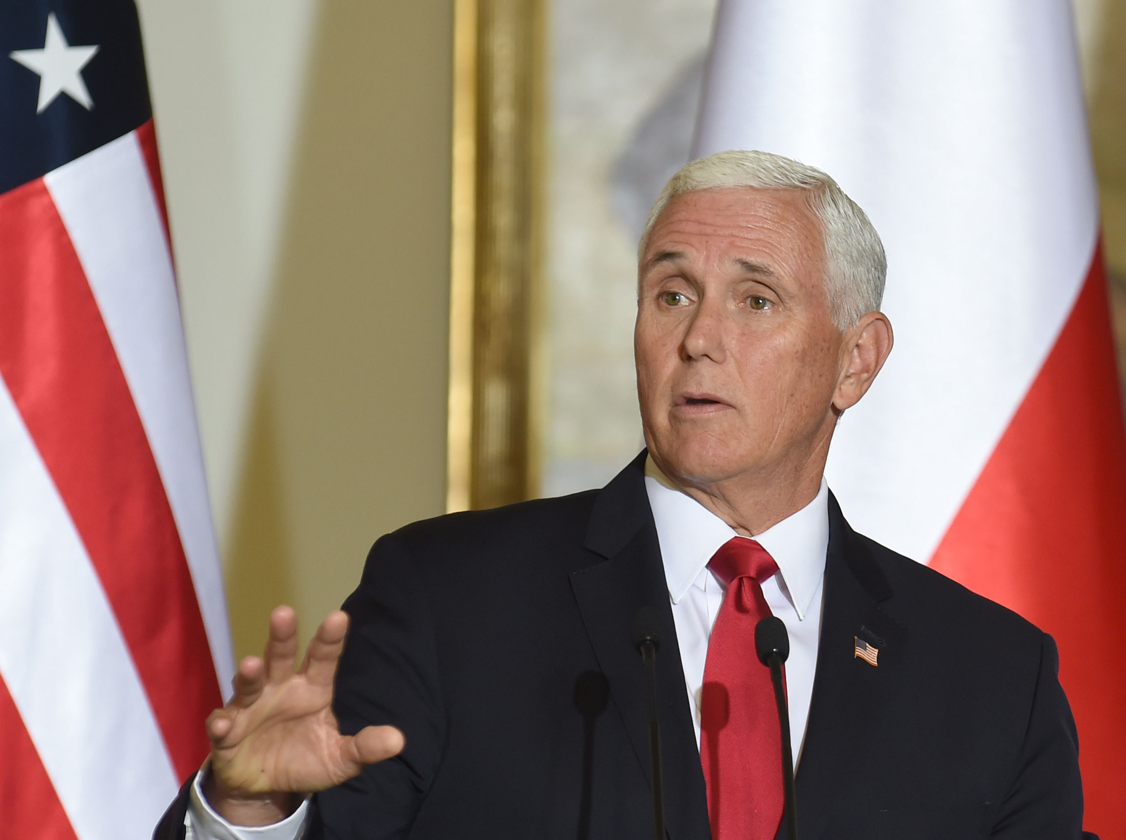US Vice President Mike Pence speaks in Warsaw on September 2, 2019.