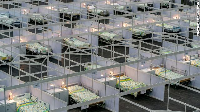 Beds at a temporary field hospital set up at the Asia World Expo on August 1, 2020 in Hong Kong.
