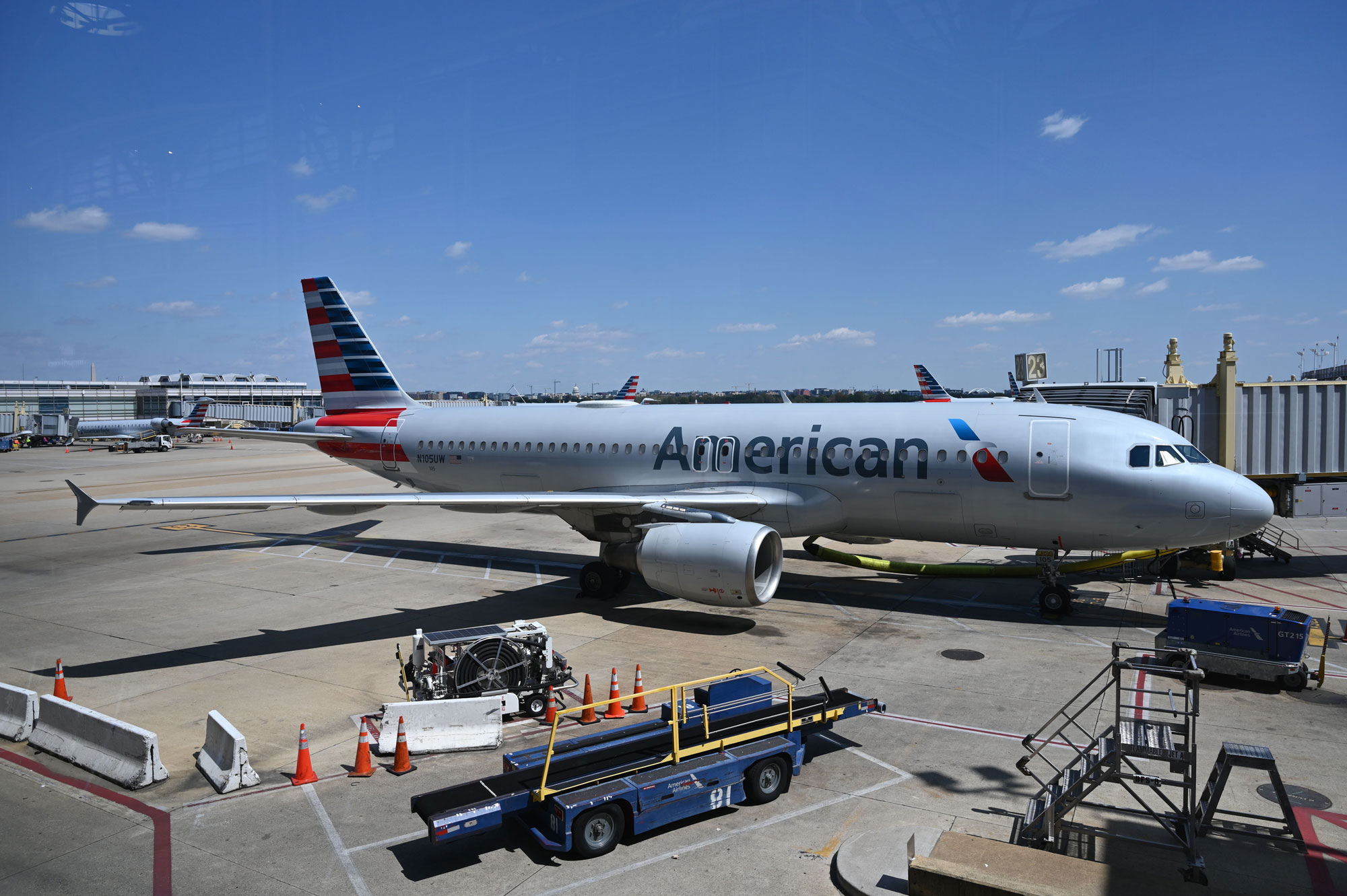An American Airlines airplane is seen at gate at Washington National Airport (DCA) on April 11, in Arlington, Virginia.