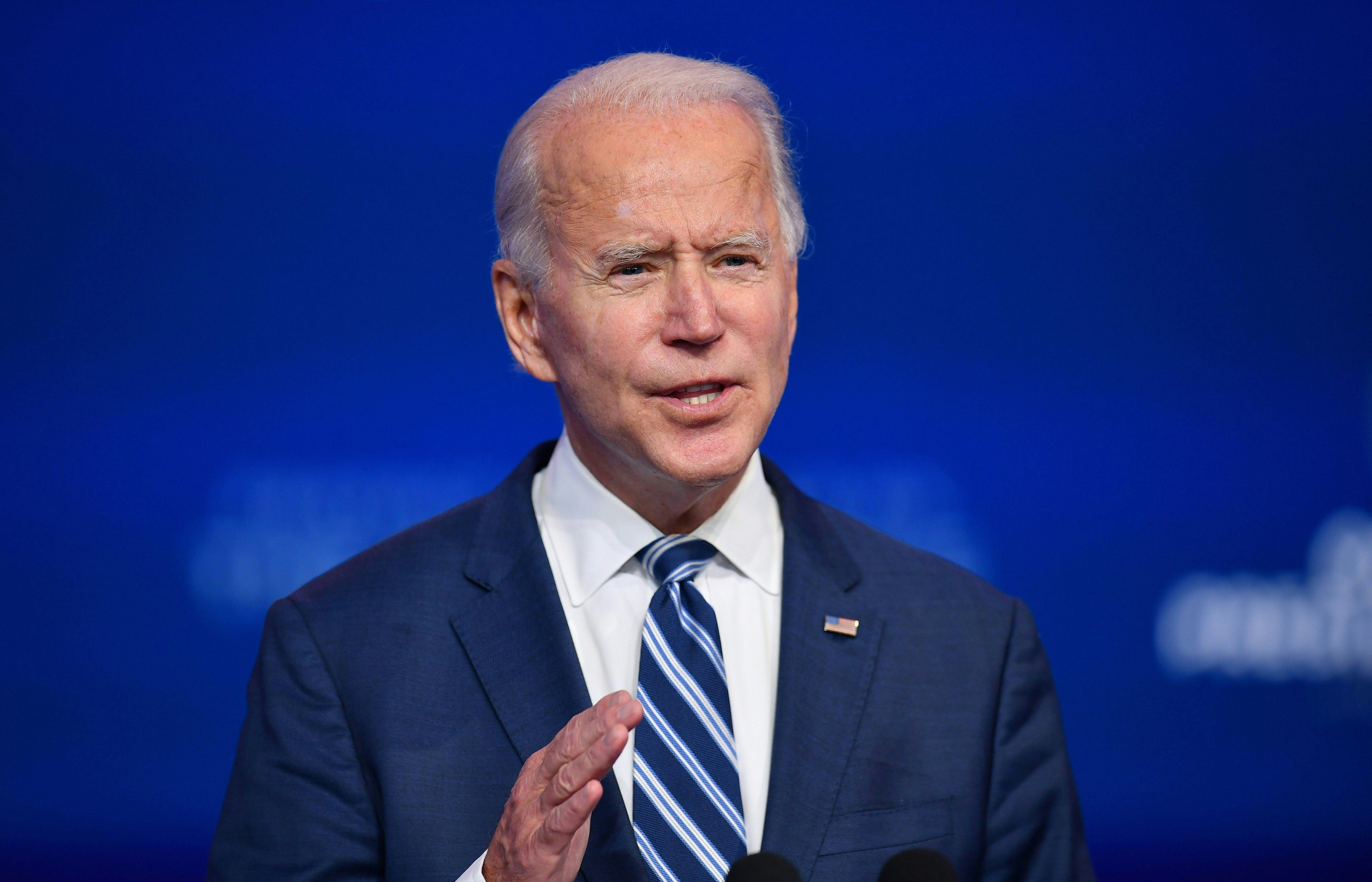 President-elect Joe Biden delivers remarks at The Queen in Wilmington, Delaware, on November 10.