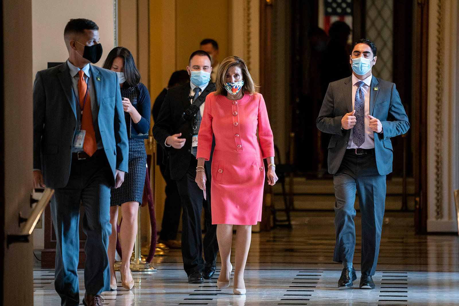 House Speaker Nancy Pelosi walks to her office in the US Capitol on Monday.