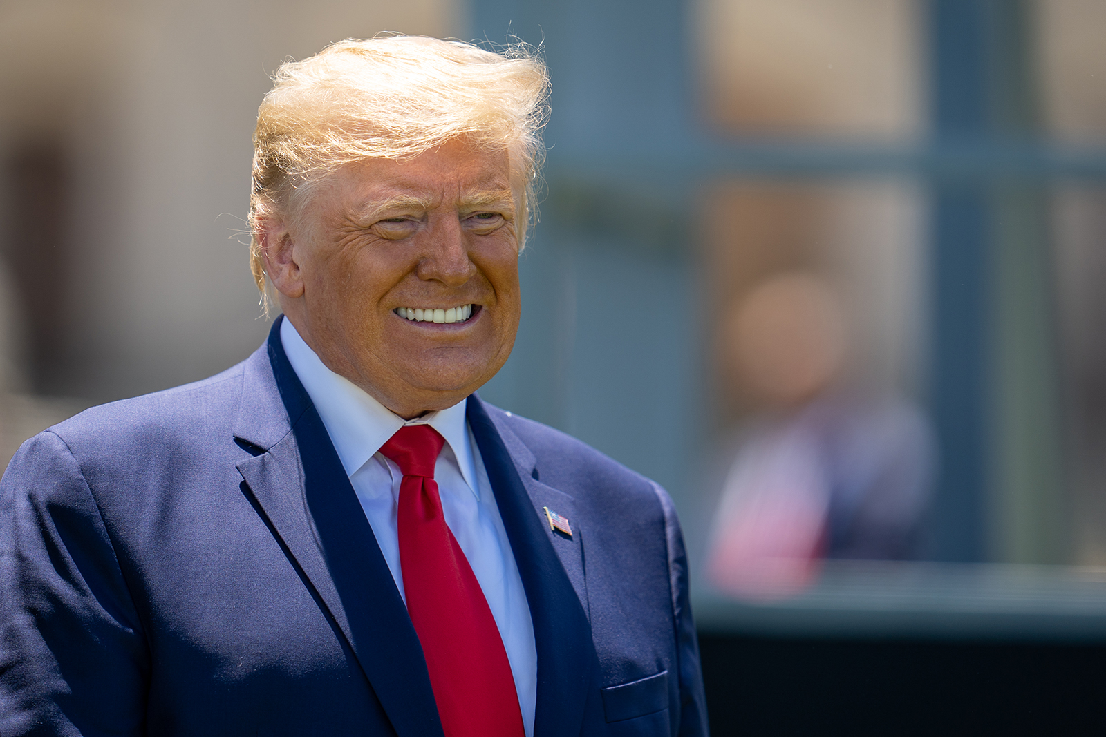 US President Donald Trump smiles at the end of the commencement ceremony on June 13, in West Point, New York.