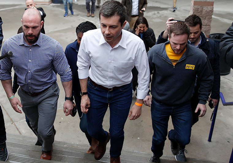 Democratic presidential candidate former South Bend, Indiana, Mayor Pete Buttigieg visits a caucus site Saturday, February 22, in Las Vegas.