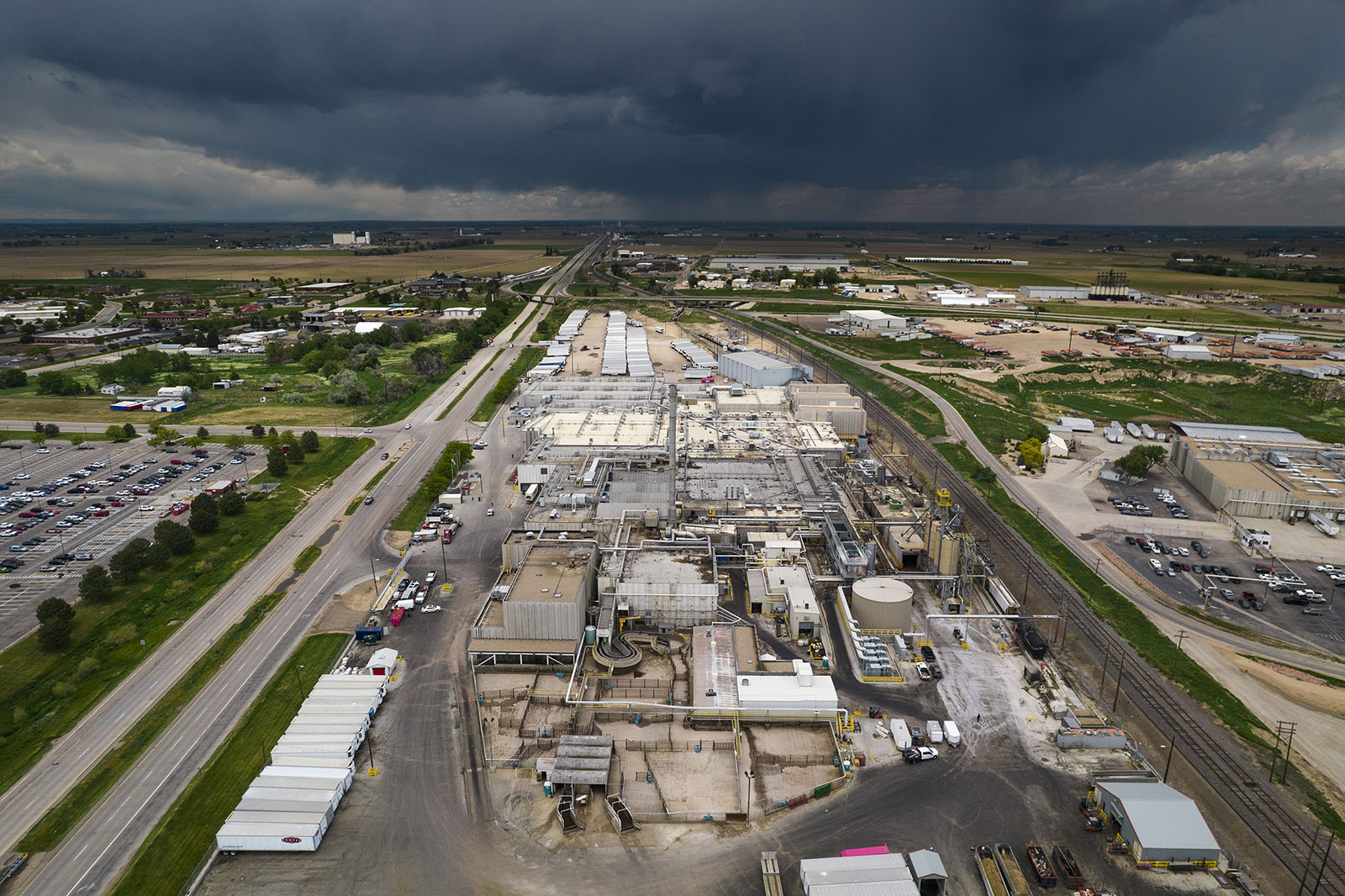 An aerial view of the JBS beef plant in Greeley, Colorado, on June 1.