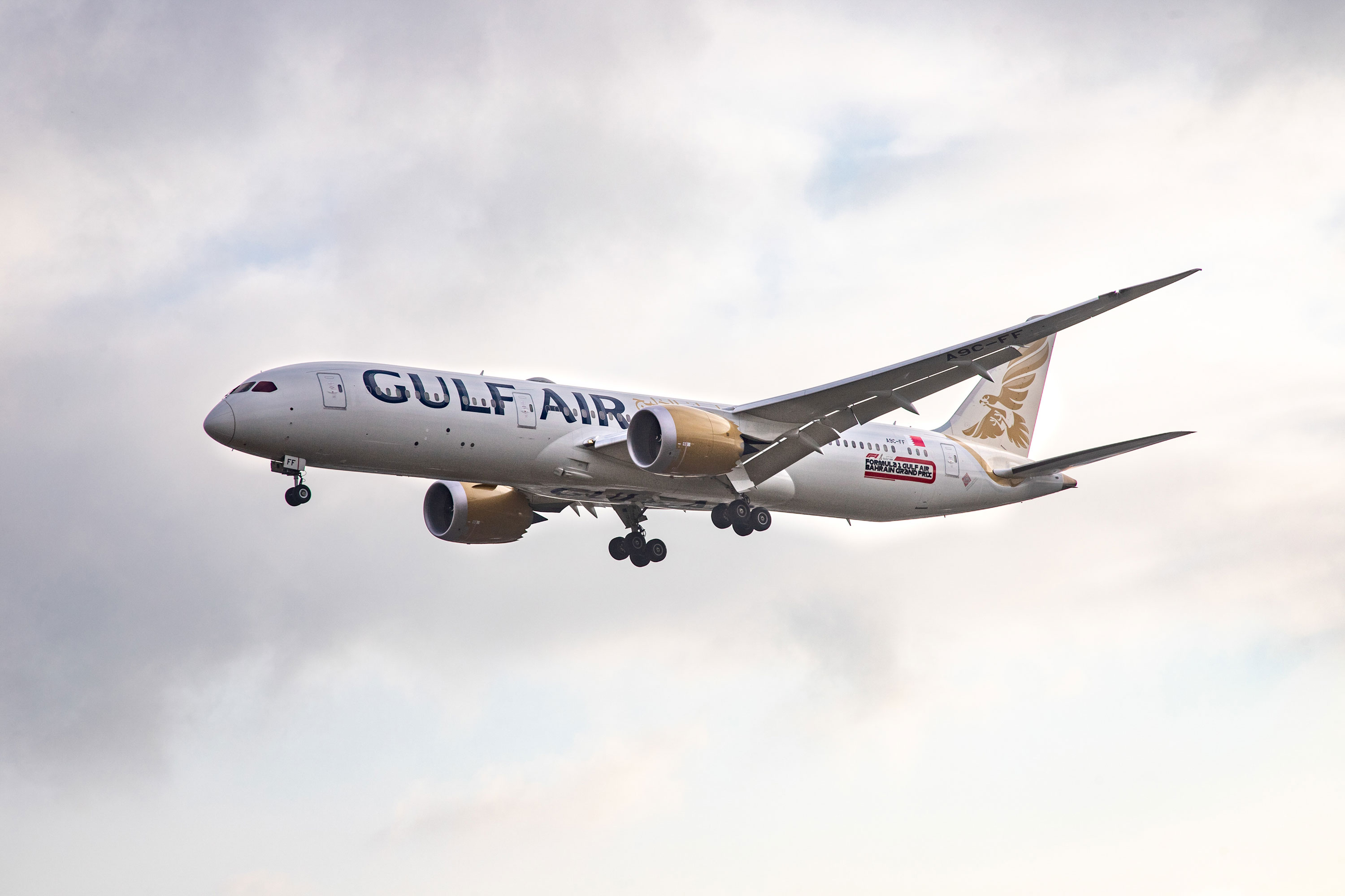 A Gulf Air Boeing aircraft approaches London Heathrow International Airport on October 10, 2019.