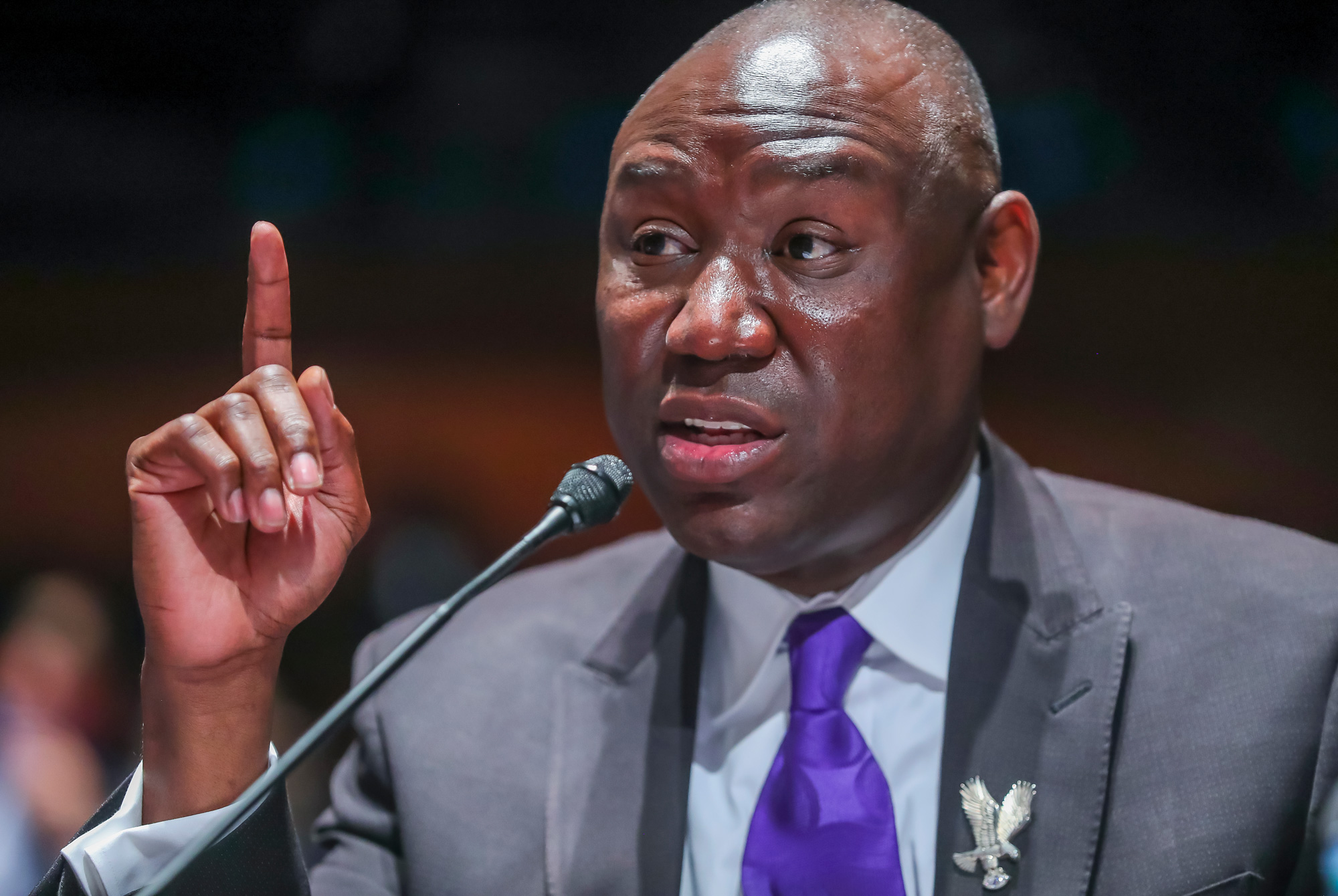 Civil rights attorney Benjamin Crump speaks during the House Judiciary Committee hearing on Policing Practices and Law Enforcement Accountability at the U.S. Capitol on June 10 in Washington.
