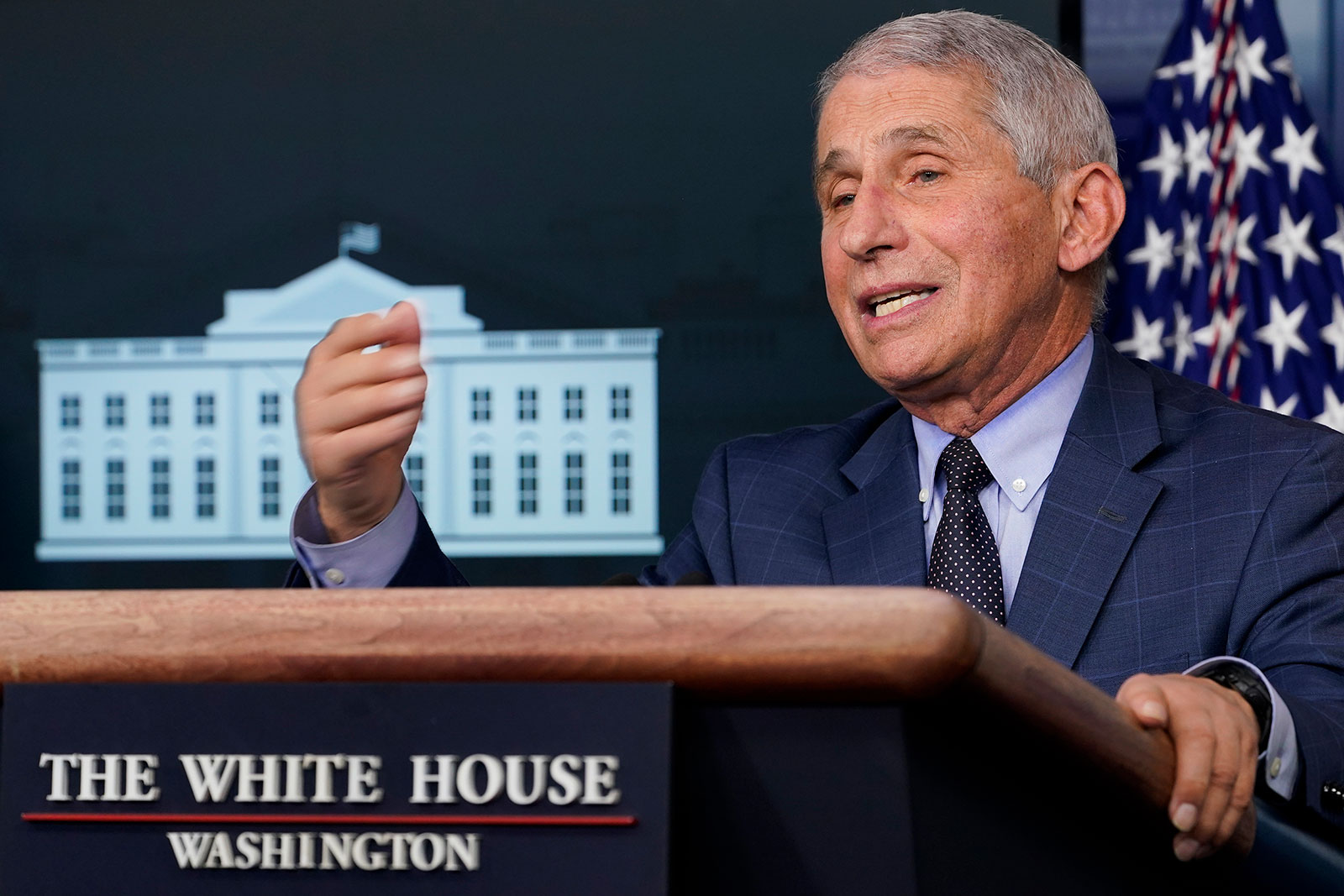 Dr. Anthony Fauci speaks during a news conference at the White House on November 19.