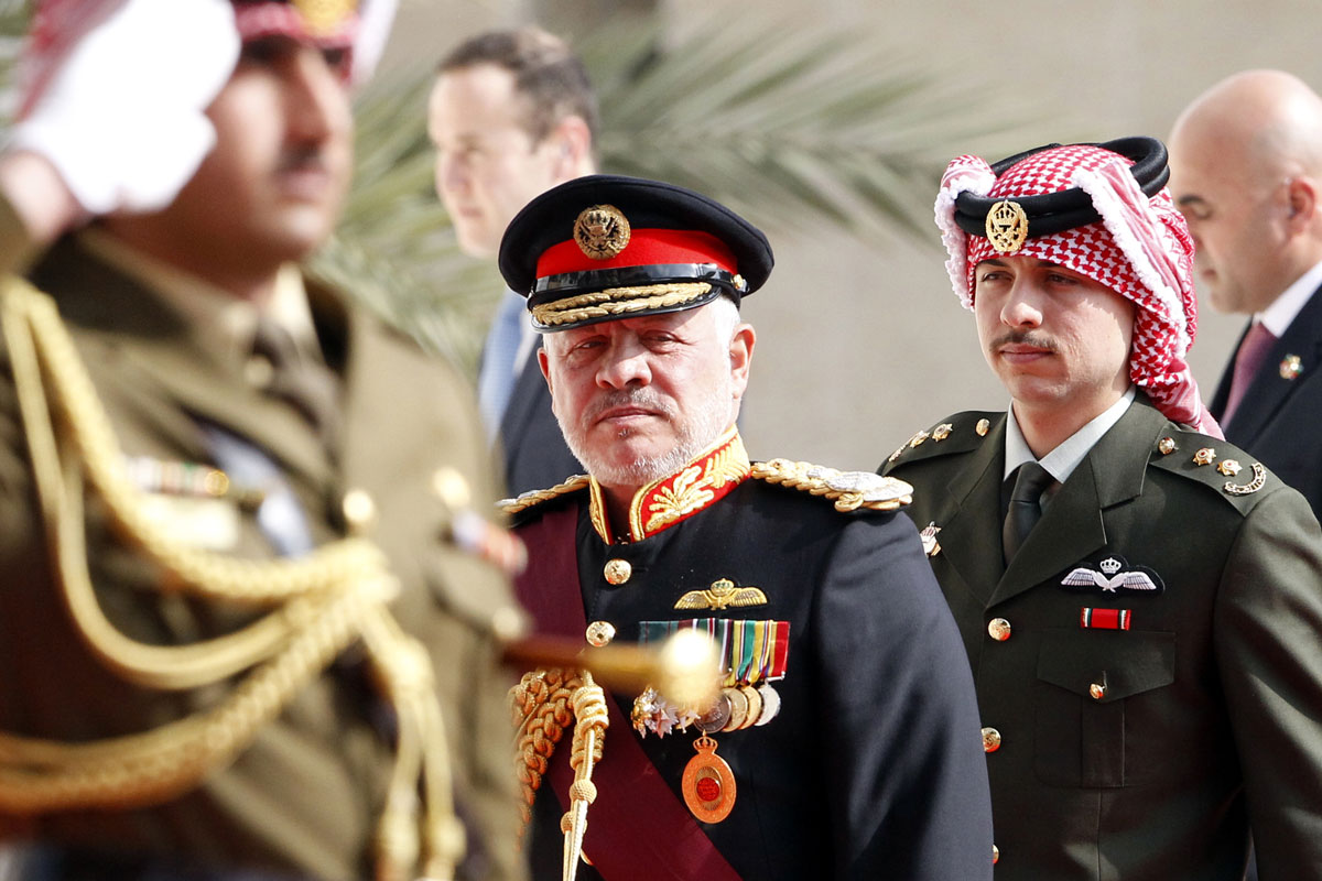 Jordan's King Abdullah II (center) arrives for the opening session of the fourth ordinary parliamentary session in Amman on November 10, 2019.