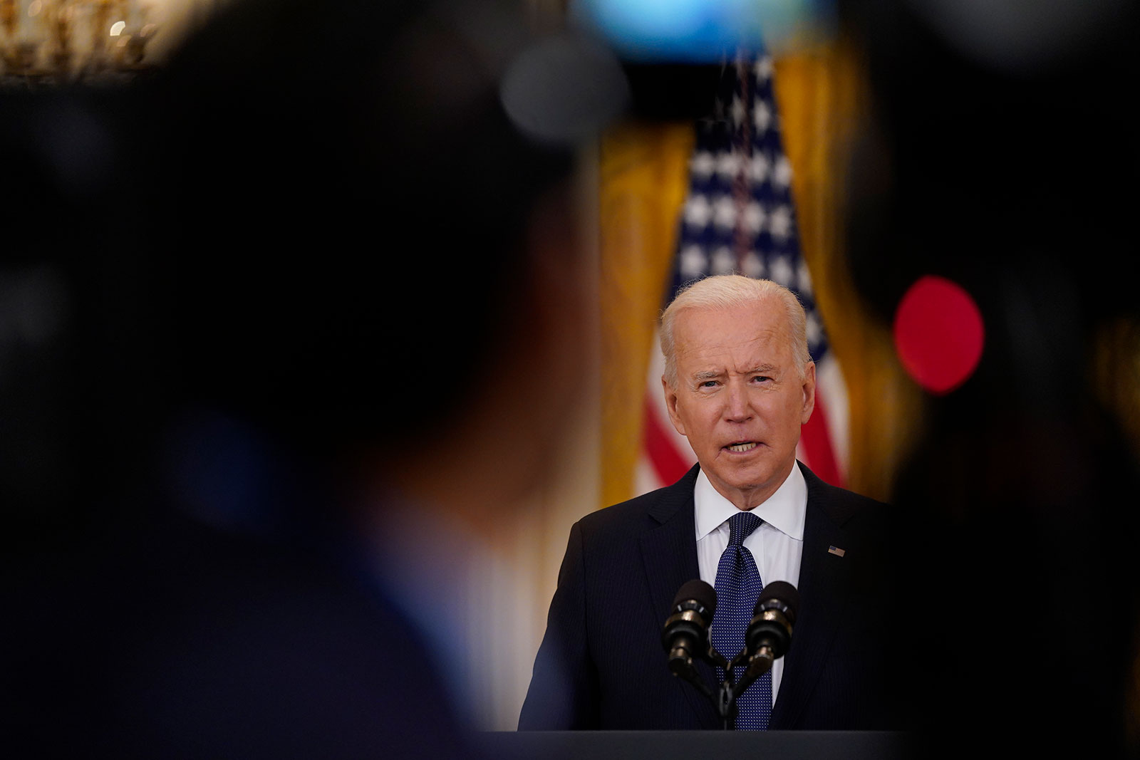 President Biden speaks from the East Room off the White House on May 10.