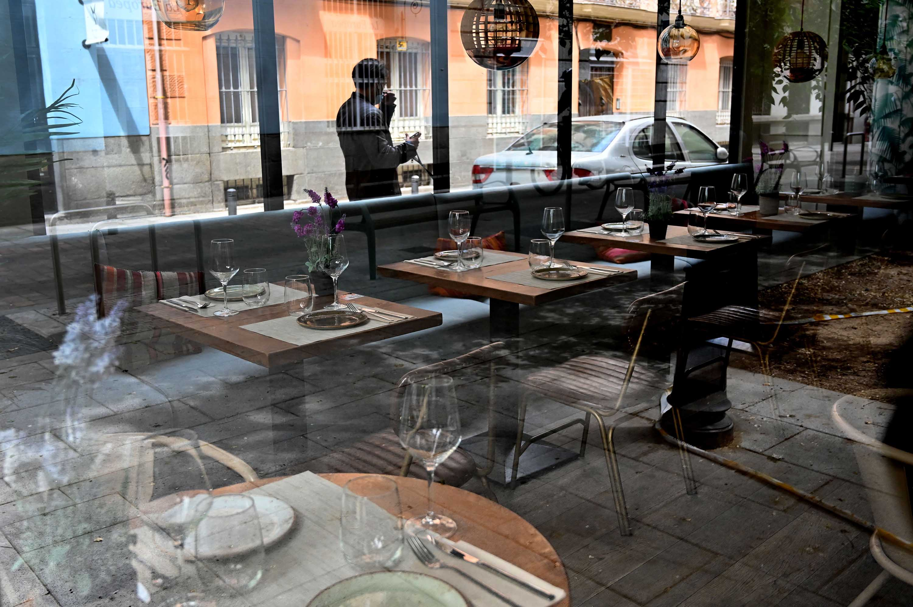 A restaurant remains closed during lockdown in Madrid, Spain, on May 4.
