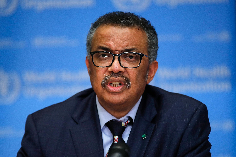 TedrosAdhanom Ghebreyesus, director-general of the World Health Organization, speaks at Tuesday's news conference in Geneva, Switzerland.