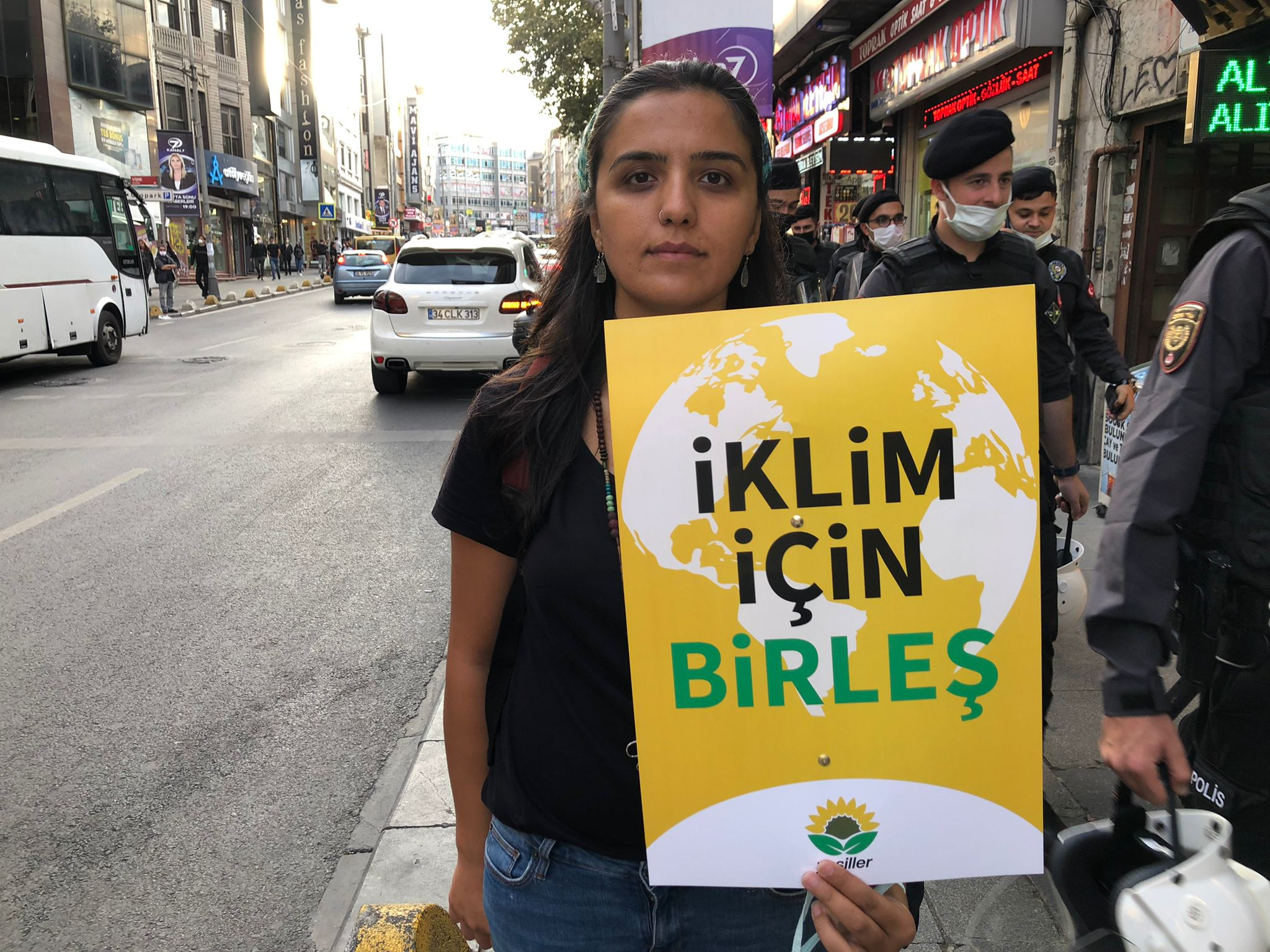 Emine Ozkan, Co-spokesperson of Turkey's Green Party attends climate protests in Istanbul, on Friday, September 24.