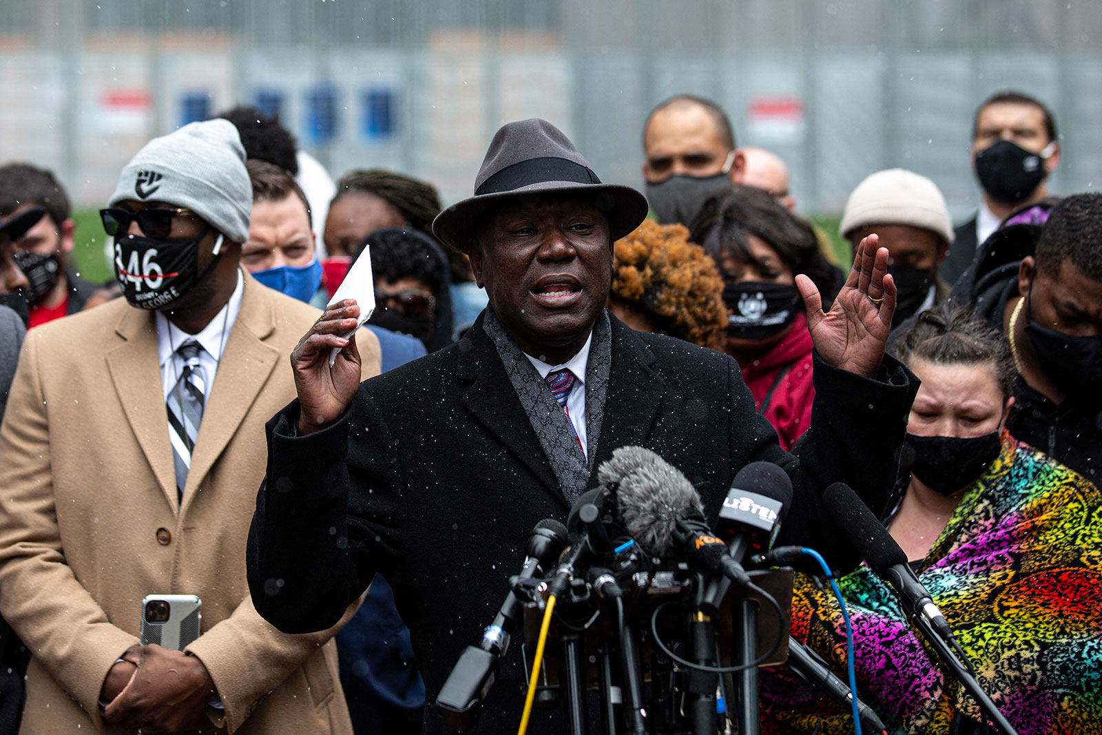 Attorney Ben Crump, center, speaks during a press conference with the families of Daunte Wright and George Floyd outside the Hennepin County Government Center in Minneapolis, Minnesota, on April 13.