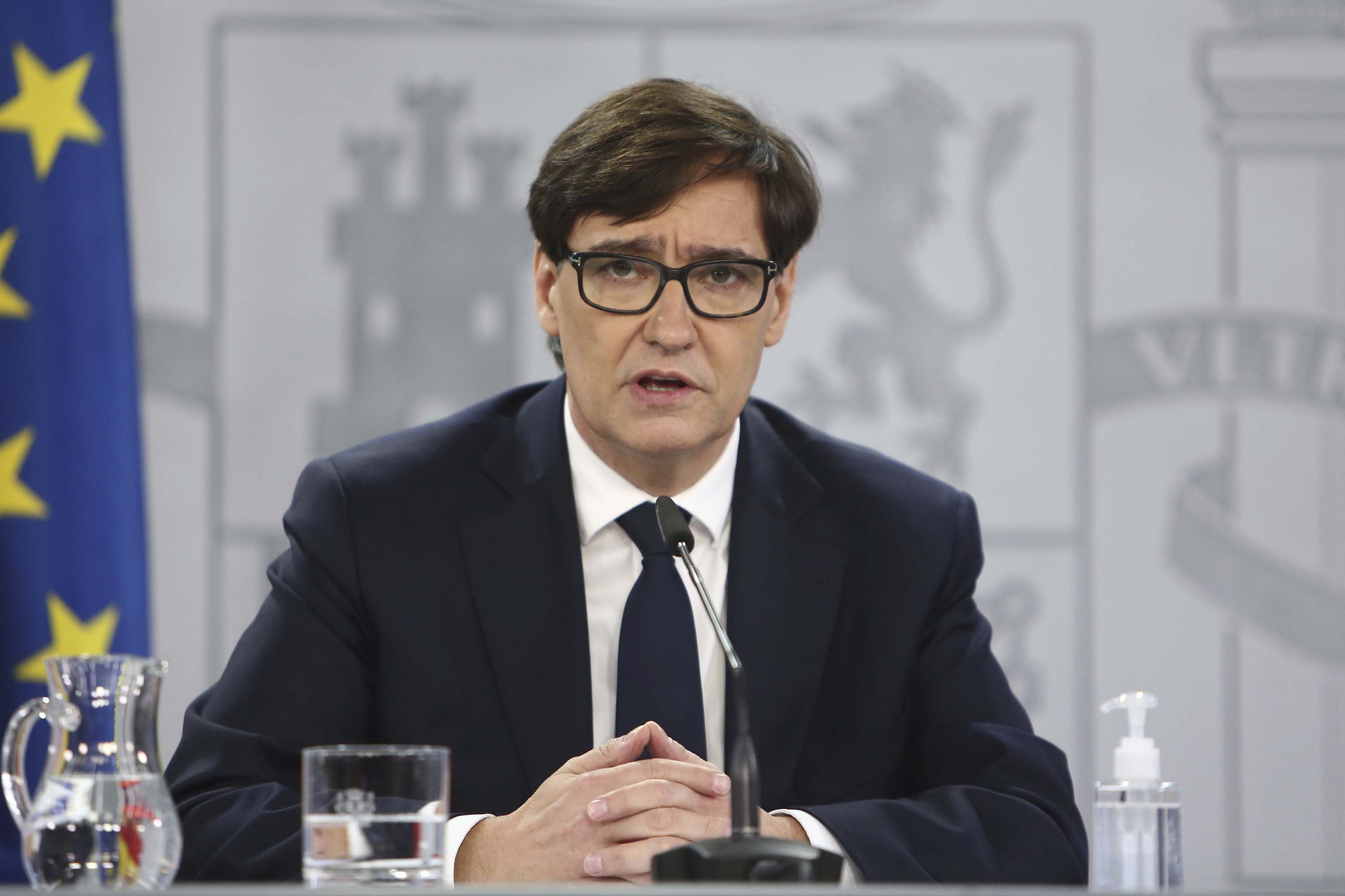 Spain's Minister of Health, Salvador Illa, gives a press conference in Madrid on December 18.