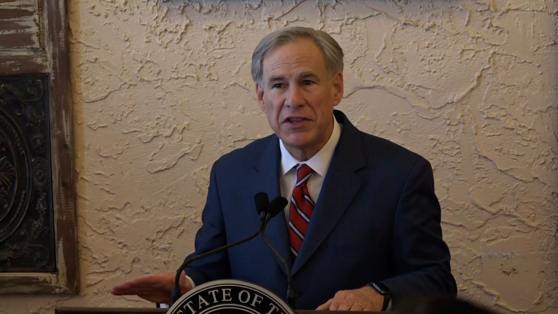 Texas Gov. Greg Abbott speaks during a press conference in Lubbock, Texas, on March 2.