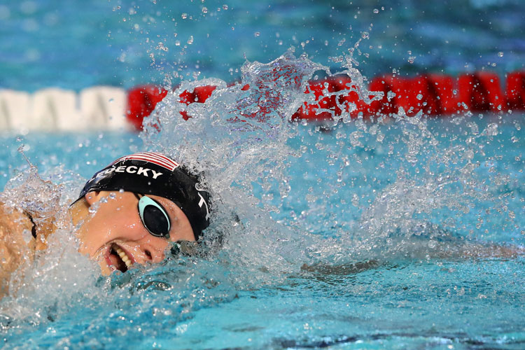 Katie Ledecky competes in the Women's 1500 LC Meter Freestyle at the TYR Pro Swim Series in Des Moines on March 4.