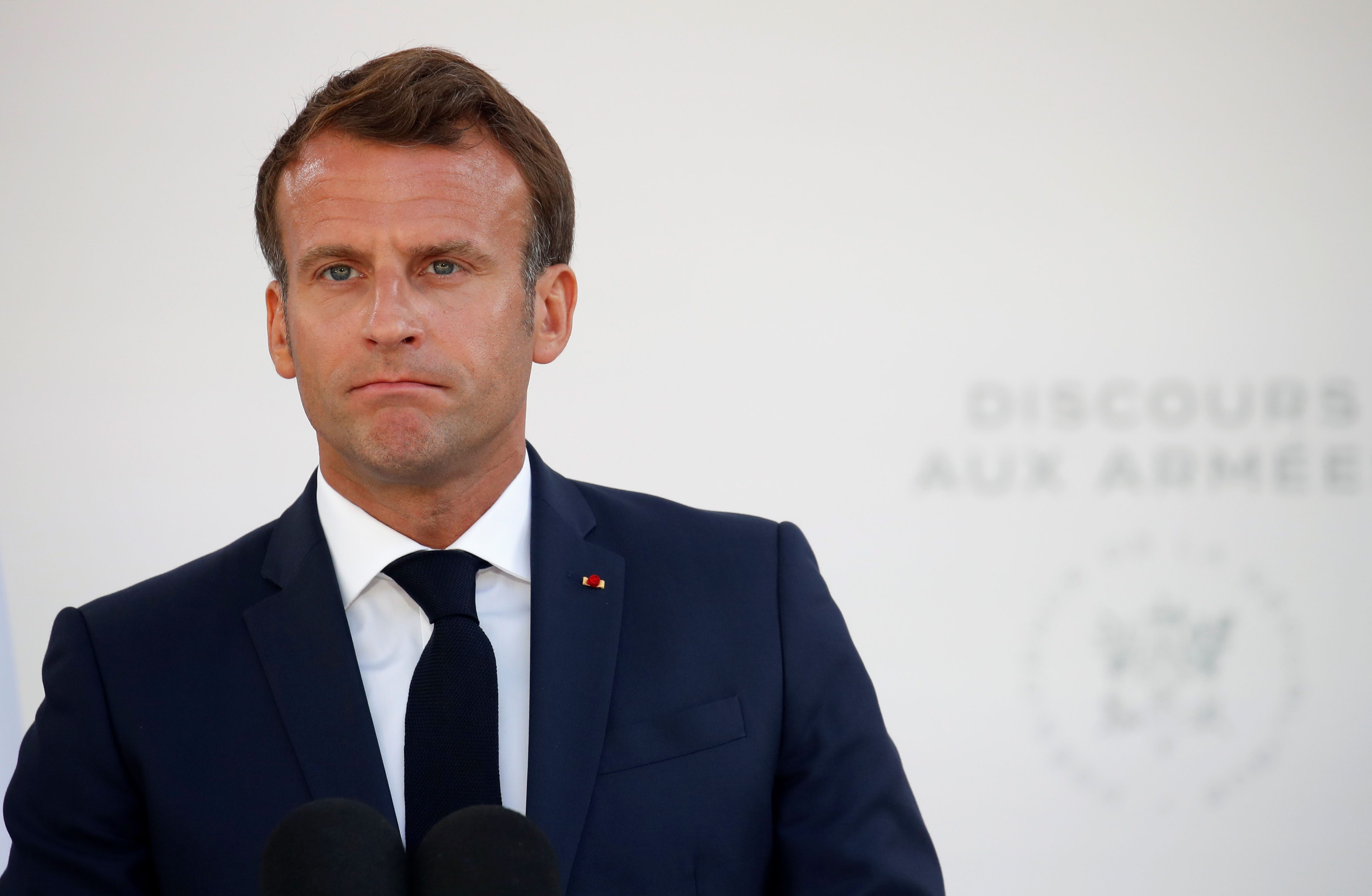 French President Emmanuel Macron delivers a speech in Paris on July 13.