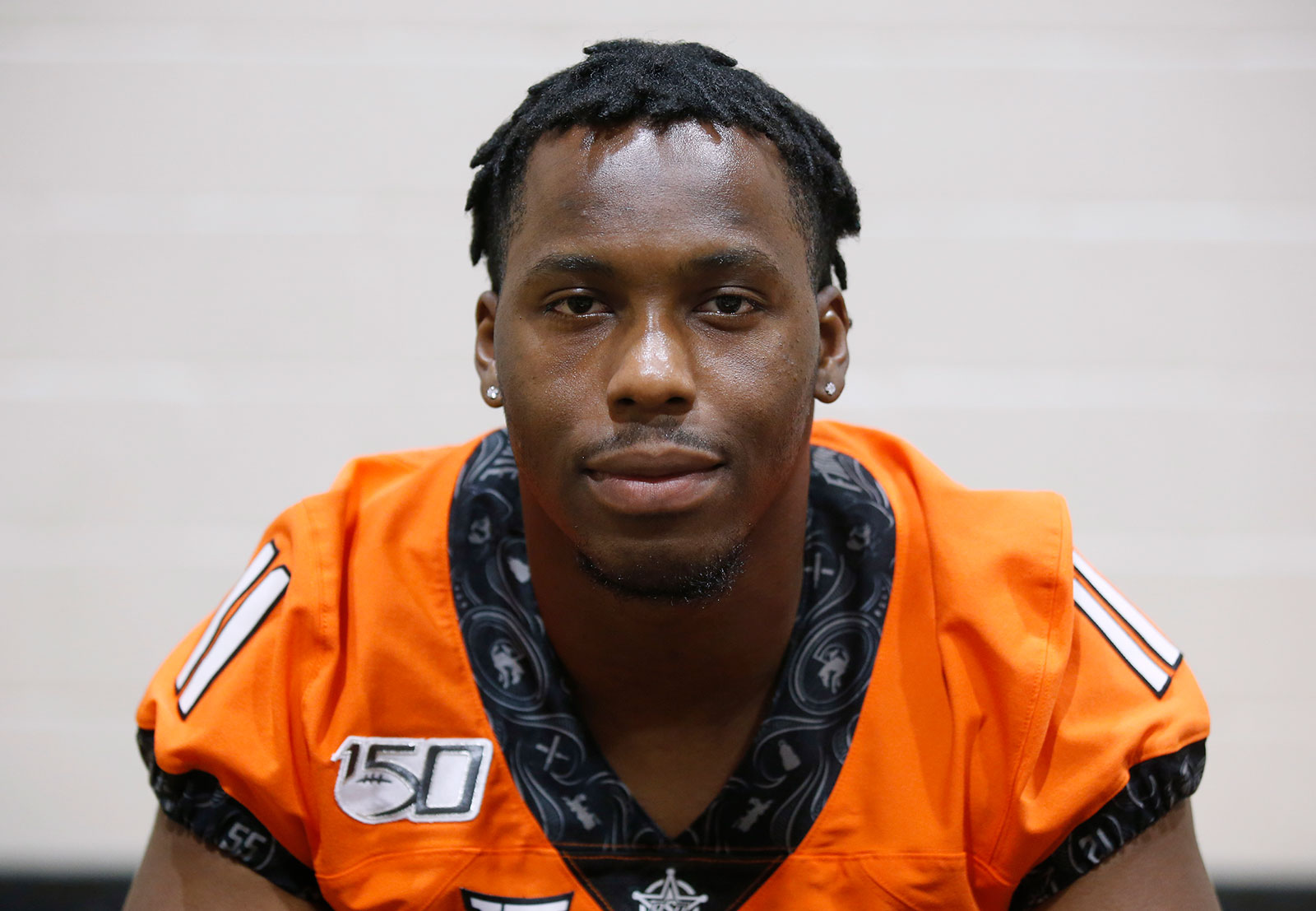Oklahoma State linebacker Amen Ogbongbemiga during a media day in Stillwater, Oklahoma, in 2019.