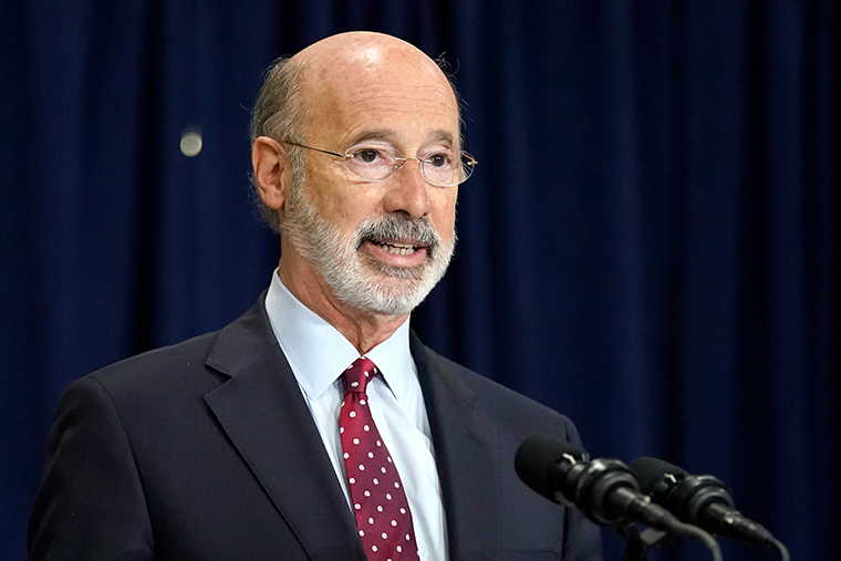 Pennsylvania Gov. Tom Wolf speaks during a news conference offering updates regarding the counting of ballots in the general election, Wednesday, November 4, in Harrisburg, Pennsylvania.