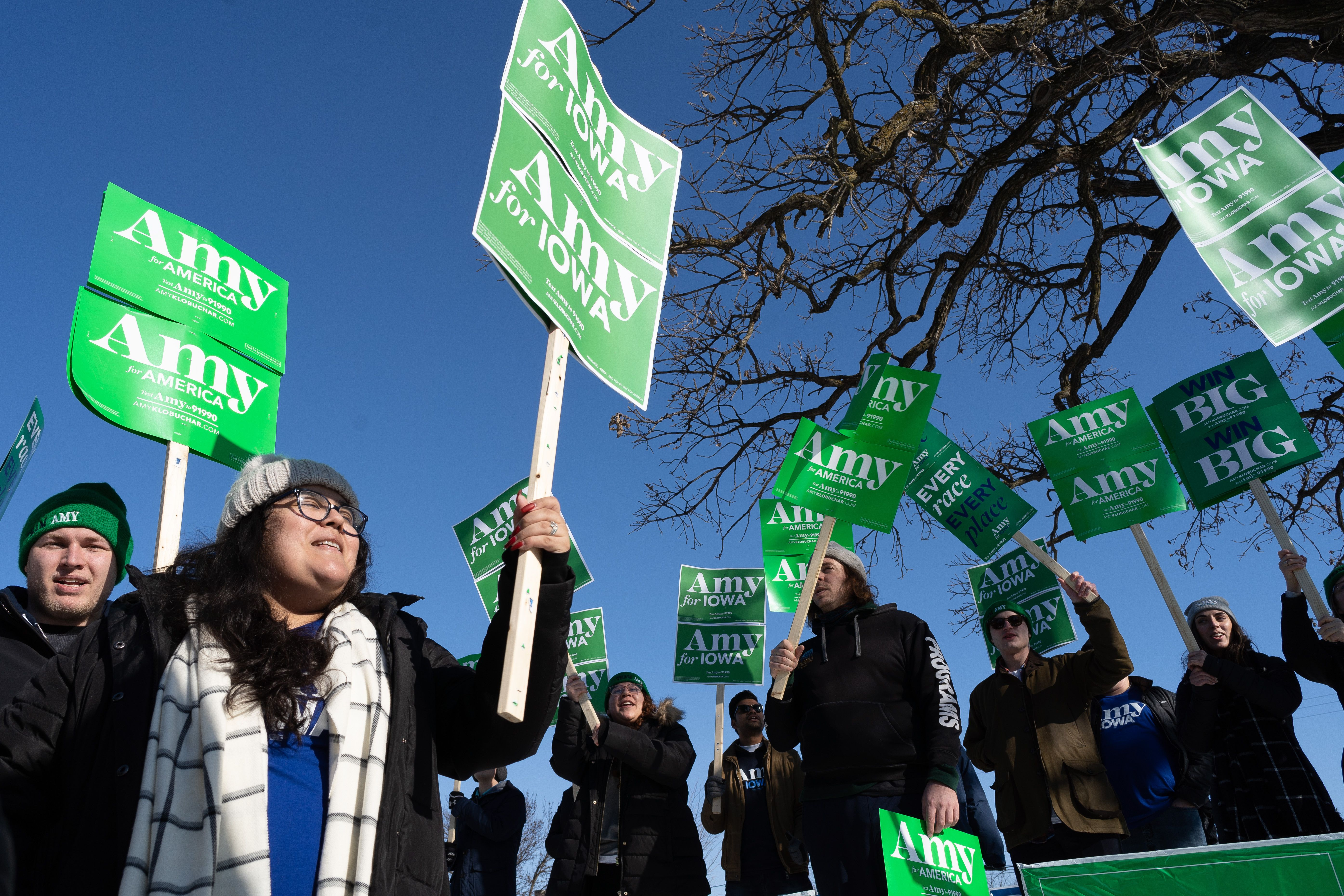 Supporters of presidential candidate Amy Kobluchar demonstrate at the Drake University campus in Des Moines, Iowa, on Jan. 14, 2020.