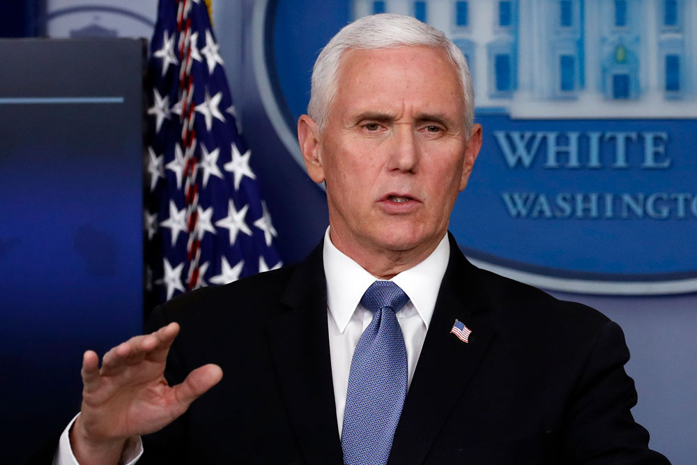 US Vice President Mike Pence speaks about the coronavirus in a press briefing Friday.