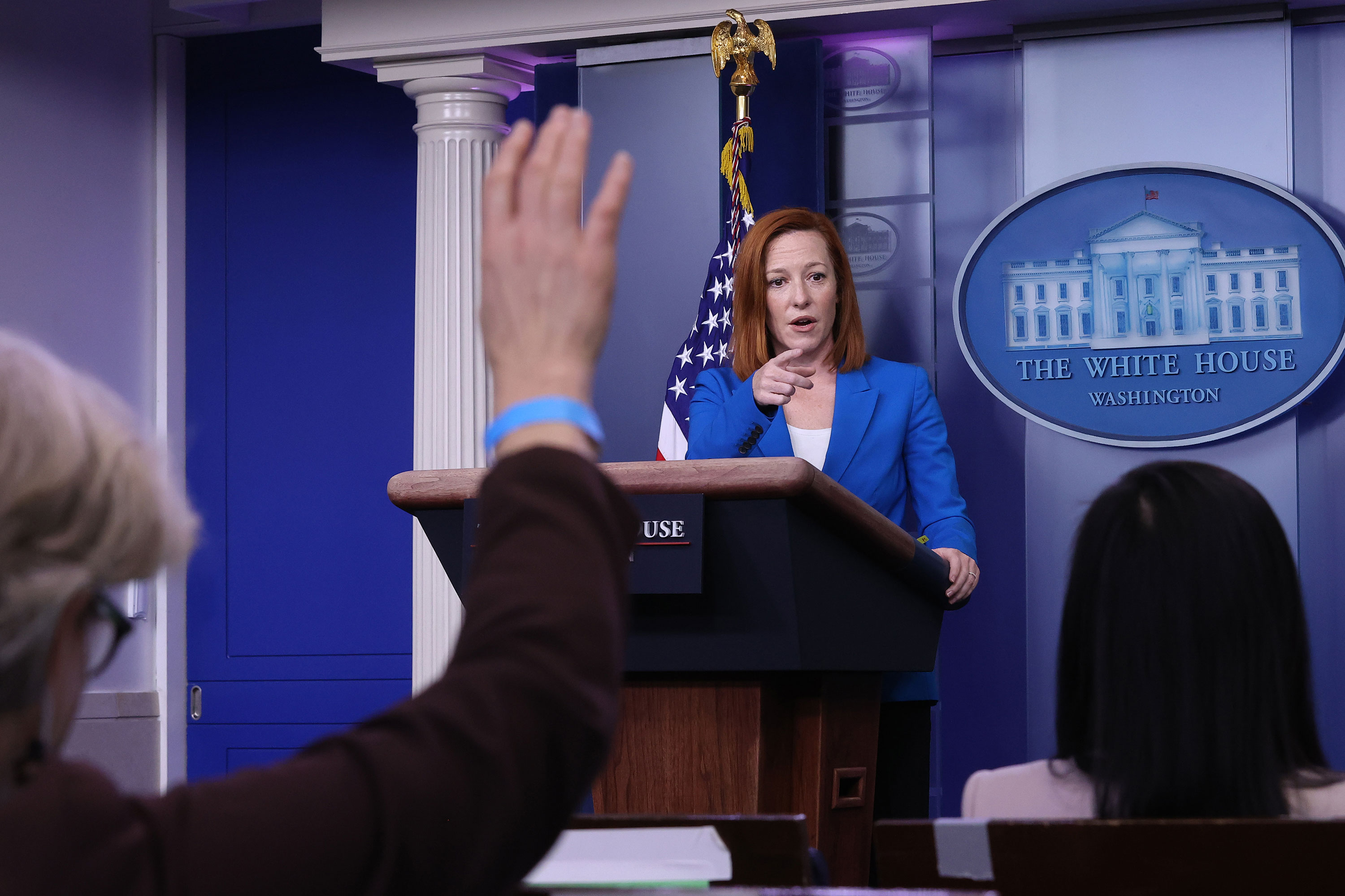 White House Press Secretary Jen Psaki talks with reporters in the Brady Press Briefing Room at the White House on March 24 in Washington, DC.