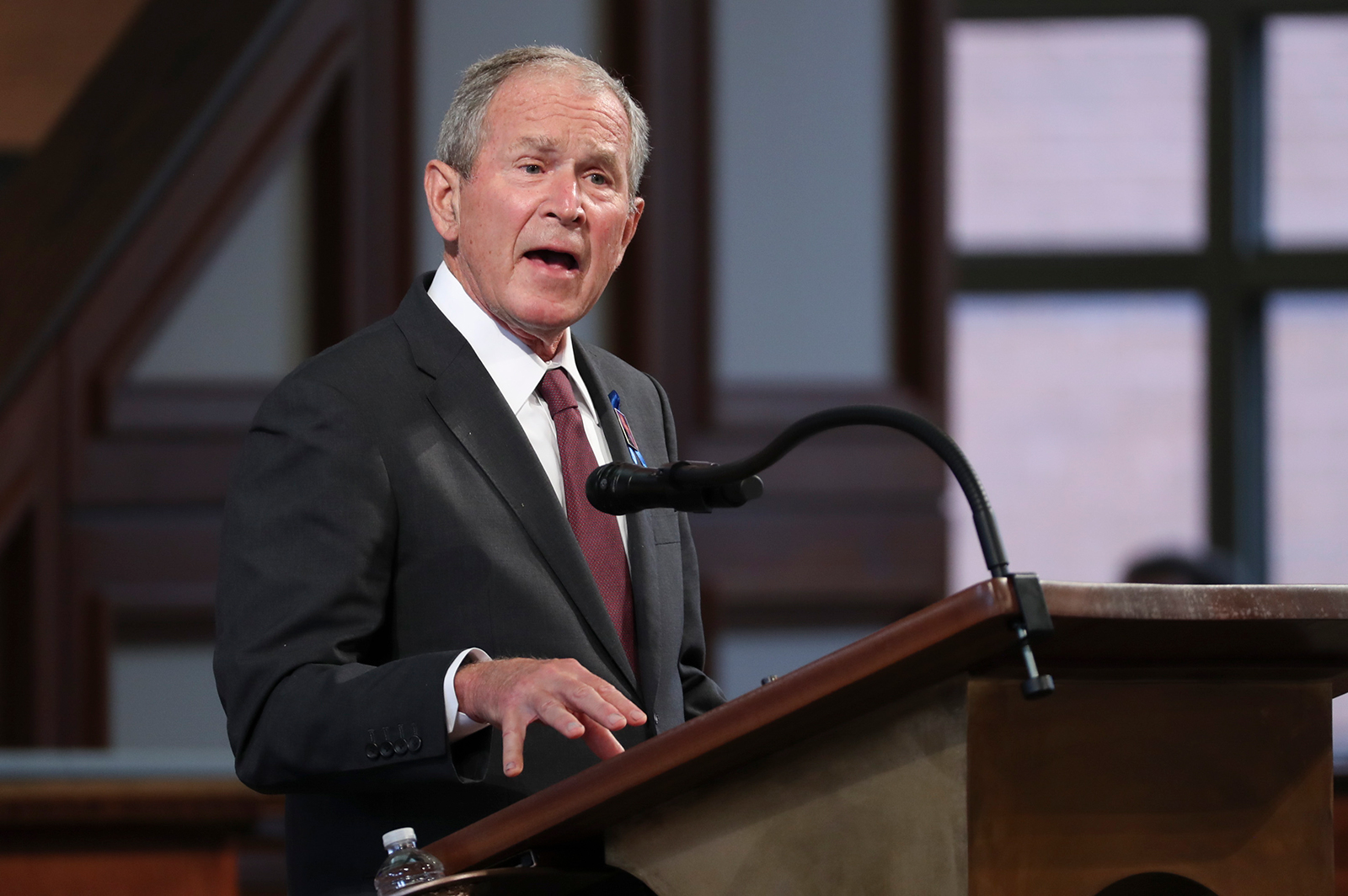 Former President George W. Bush speaks during the funeral service of the late Rep. John Lewis at Ebenezer Baptist Church on July 30, in Atlanta, Georgia.