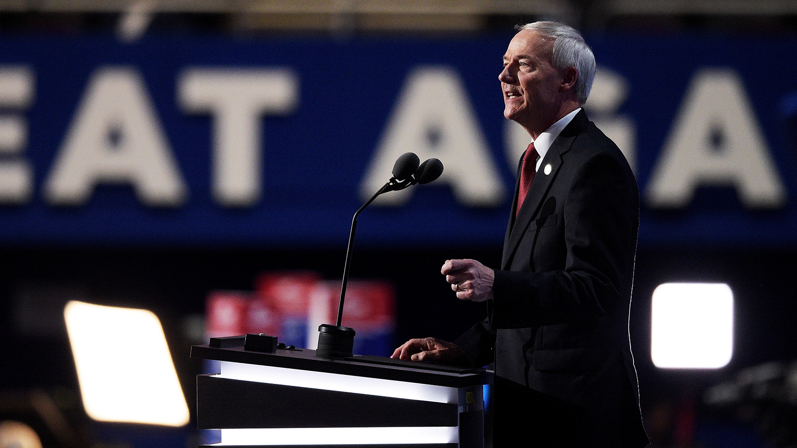 Arkansas Gov. Asa Hutchinson delivers a speech on the second day of the Republican National Convention on July 19, 2016 at the Quicken Loans Arena in Cleveland, Ohio.