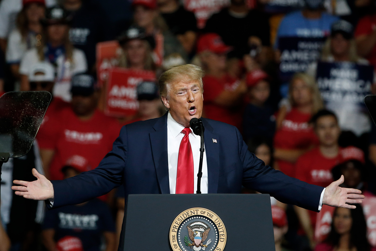 US President Donald Trump speaks during a campaign rally in Tulsa, Oklahoma, on Saturday, June 20.