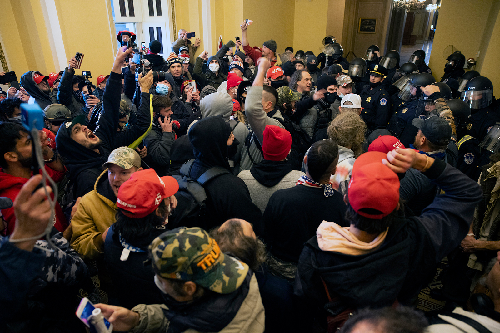 Supporters of US President Donald Trump protest inside the US Capitol in Washington, DC, on January 6.