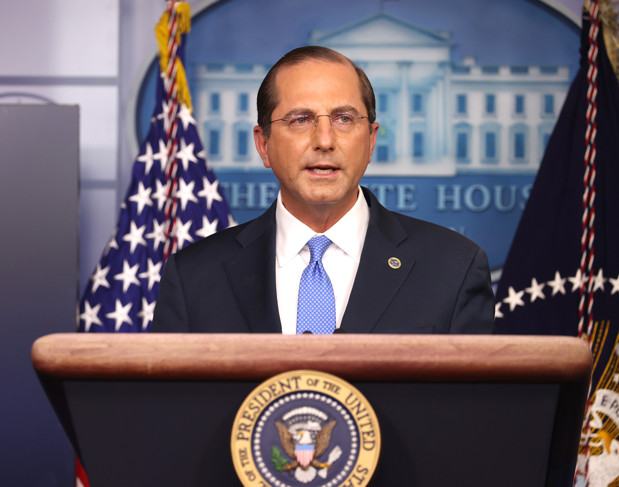 United States Secretary of Health and Human Services Alex Azar speaks to the press in the James Brady Press Briefing Room at the White House on November 20 in Washington, DC.
