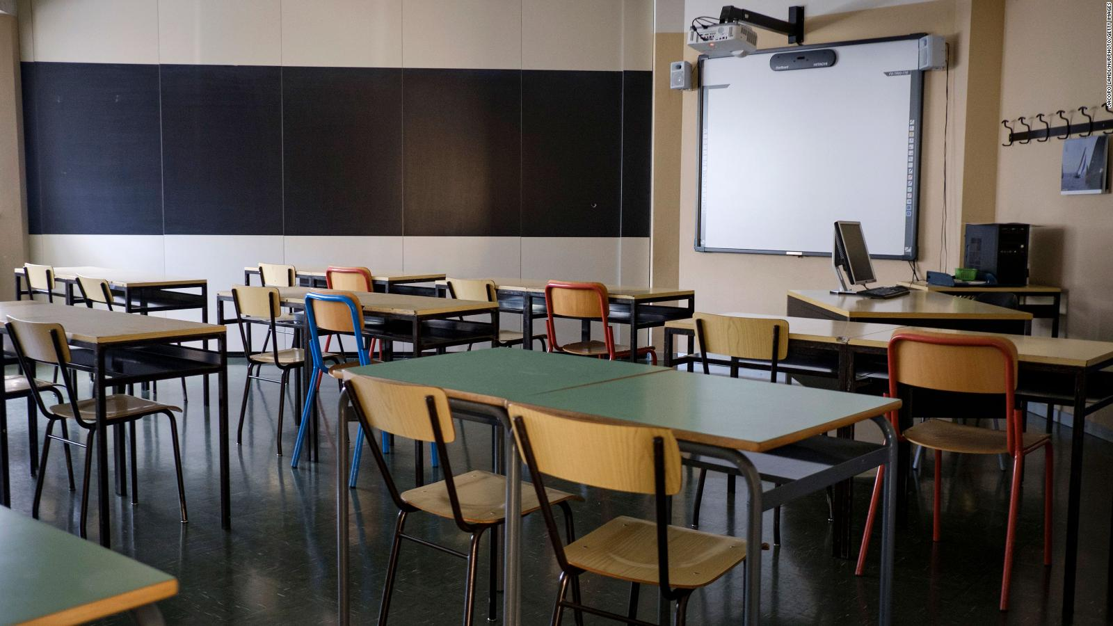 An empty classroom is pictured in Trieste, Italy, on May 26.