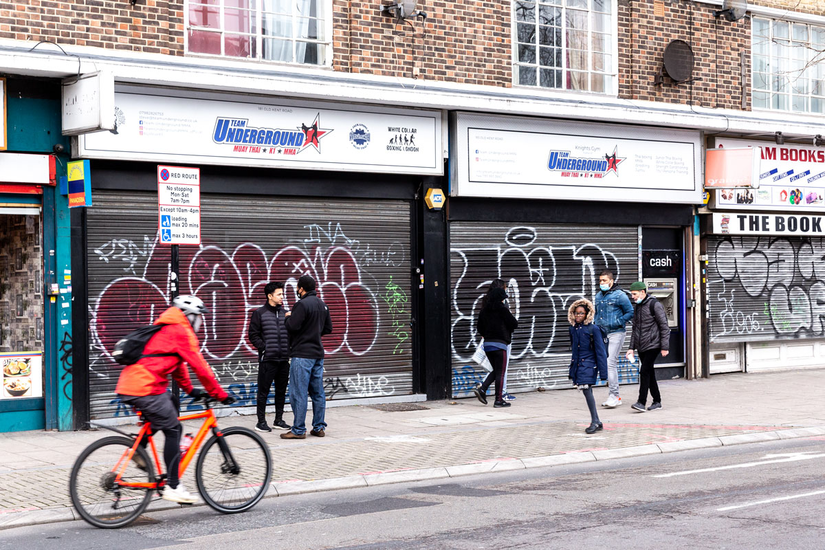 Closed shops on London's Old Kent Road are seen on January 8 as the UK government introduced strict restrictions due to a sharp increase in Covid-19 cases.