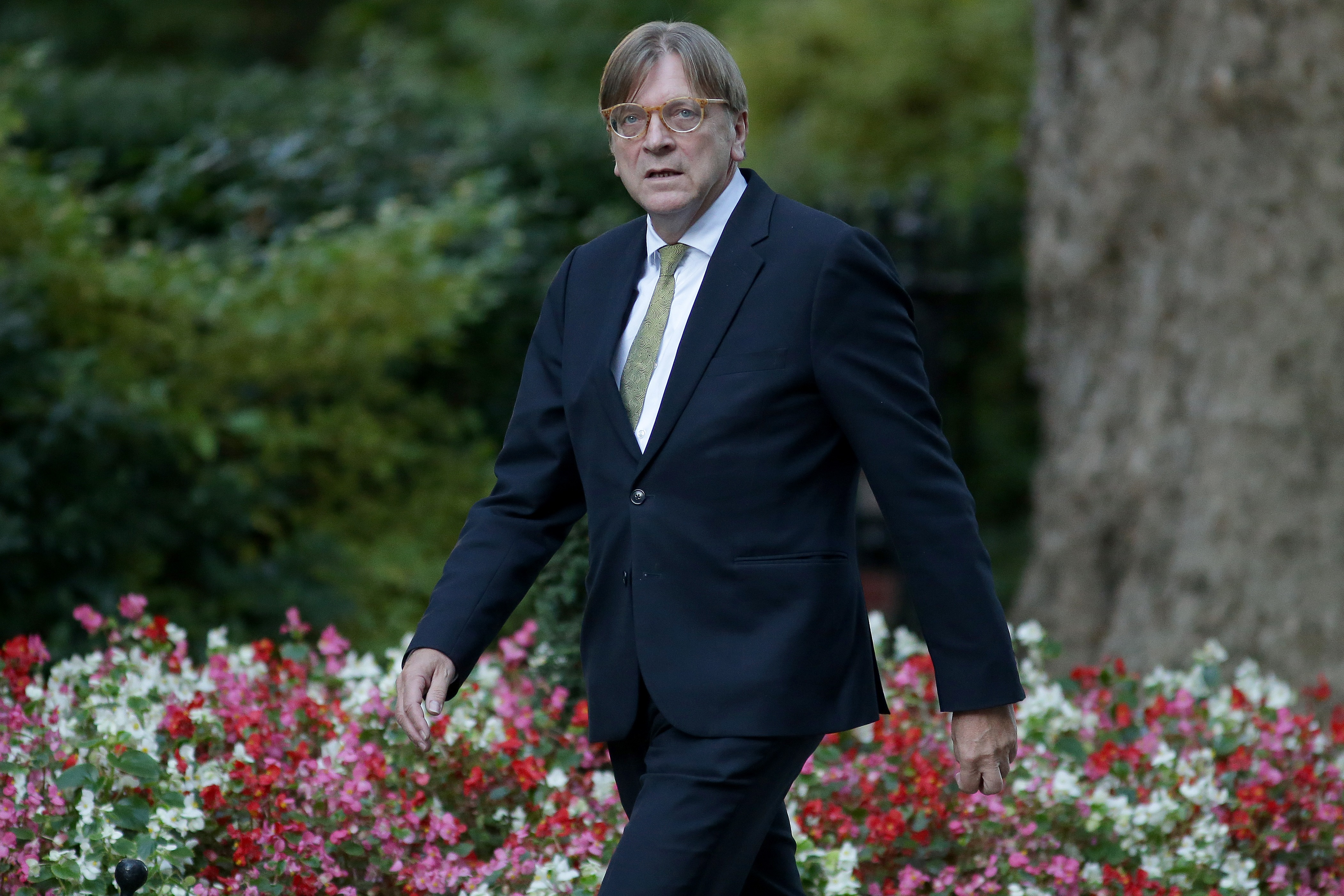 FILE PHOTO: The European Parliament's Brexit coordinator Guy Verhofstadt attends a meeting with Britain's Prime Minister Theresa May at Downing Street last September.