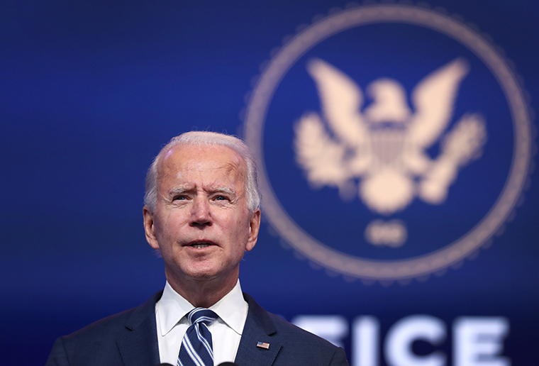 U.S. President-elect Joe Biden addresses the media on November 10, 2020 at the Queen Theater in Wilmington, Delaware.