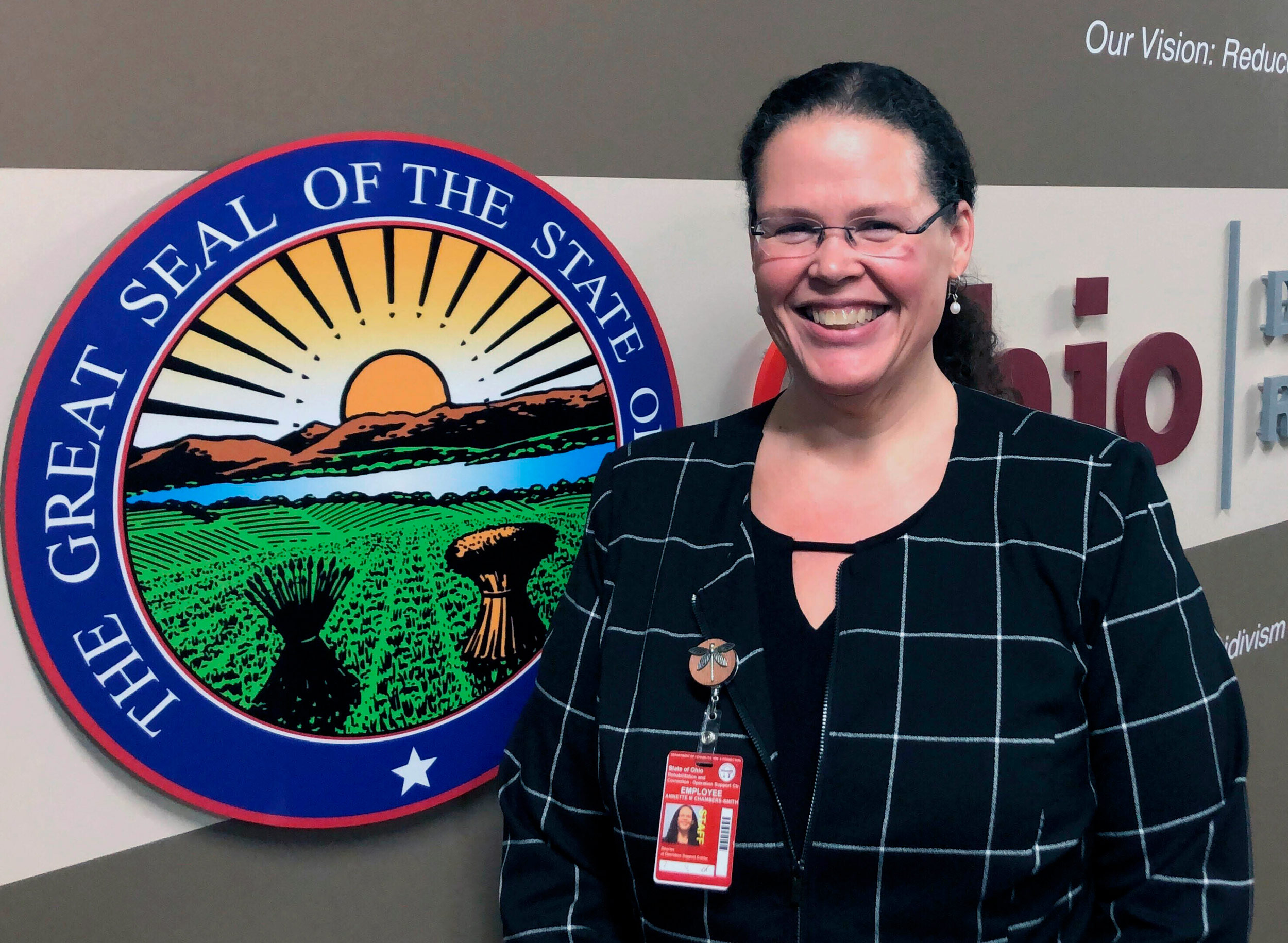 Annette Chambers-Smith, director of the Ohio Department of Rehabilitation and Correction, poses outside her office in Columbus, Ohio, on January 22.