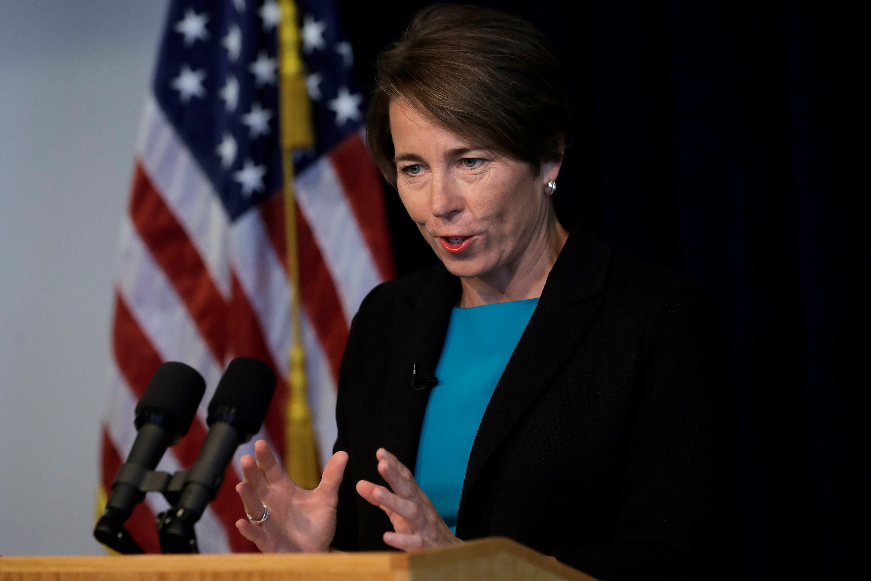 Massachusetts Attorney General Maura Healey speaks during a news conference on September 16, 2019, in Boston.
