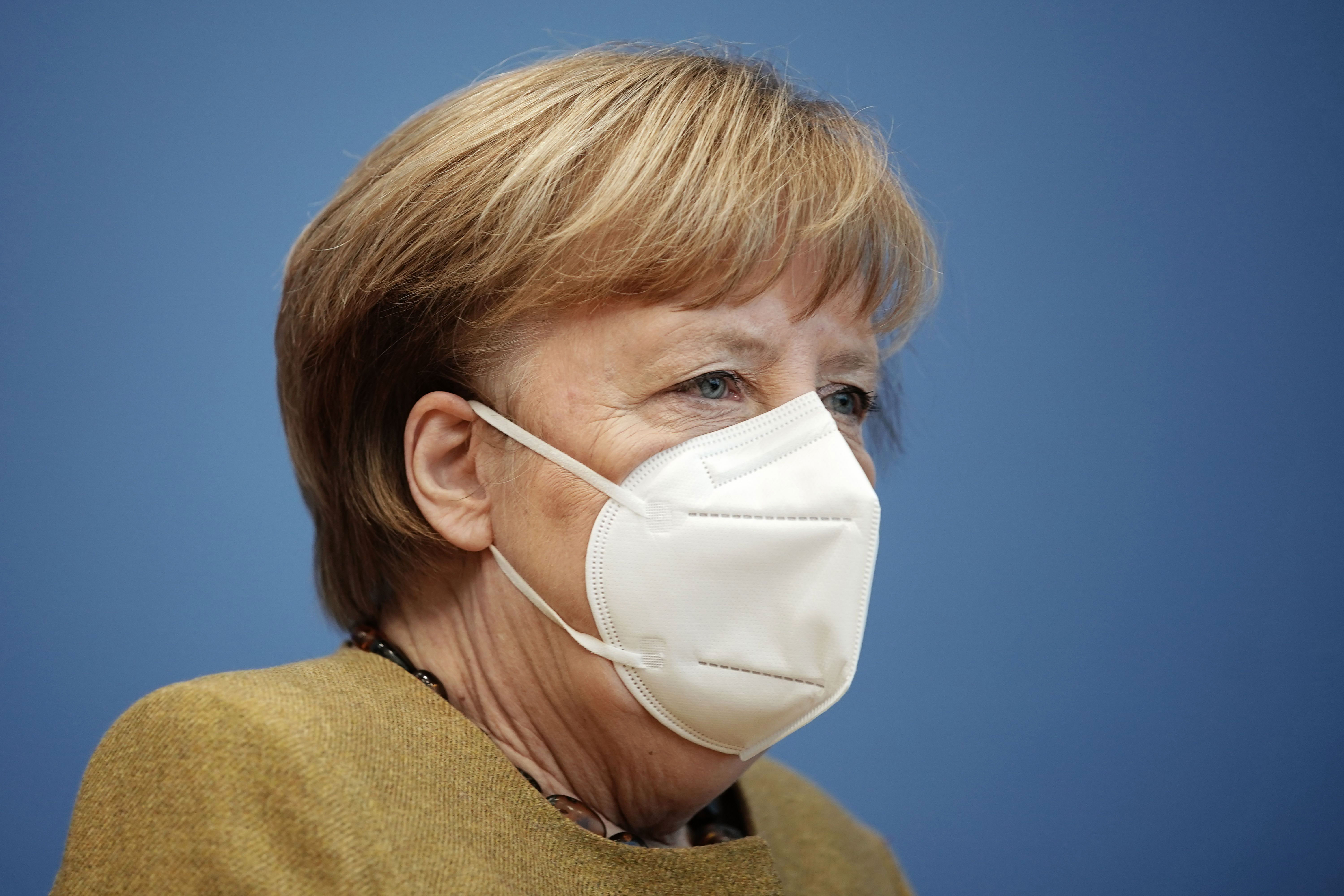 German Chancellor Angela Merkel holds a press conference in Berlin on January 21.