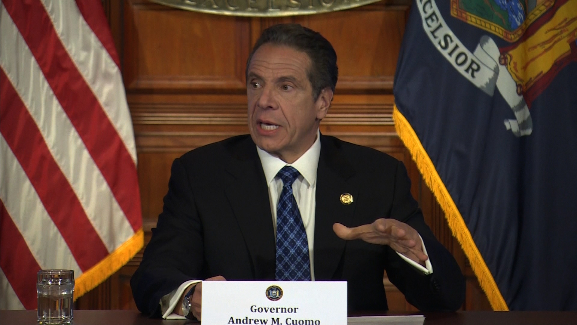 New York Gov. Andrew Cuomo speaks at a press conference at the State Capital in Albany, on April 24.