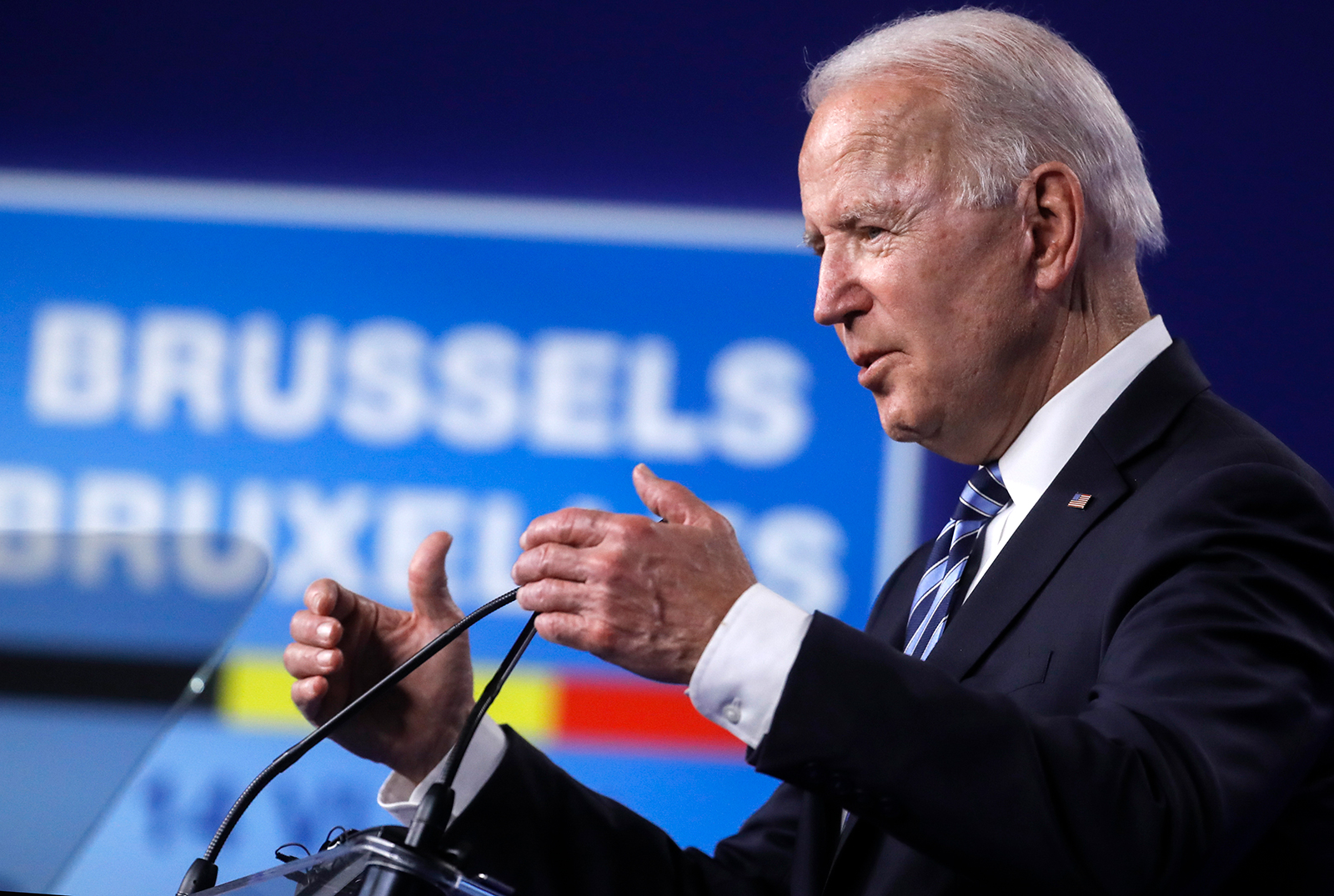 President Joe Biden speaks during a media conference at a NATO summit in Brussels, Monday, June 14.