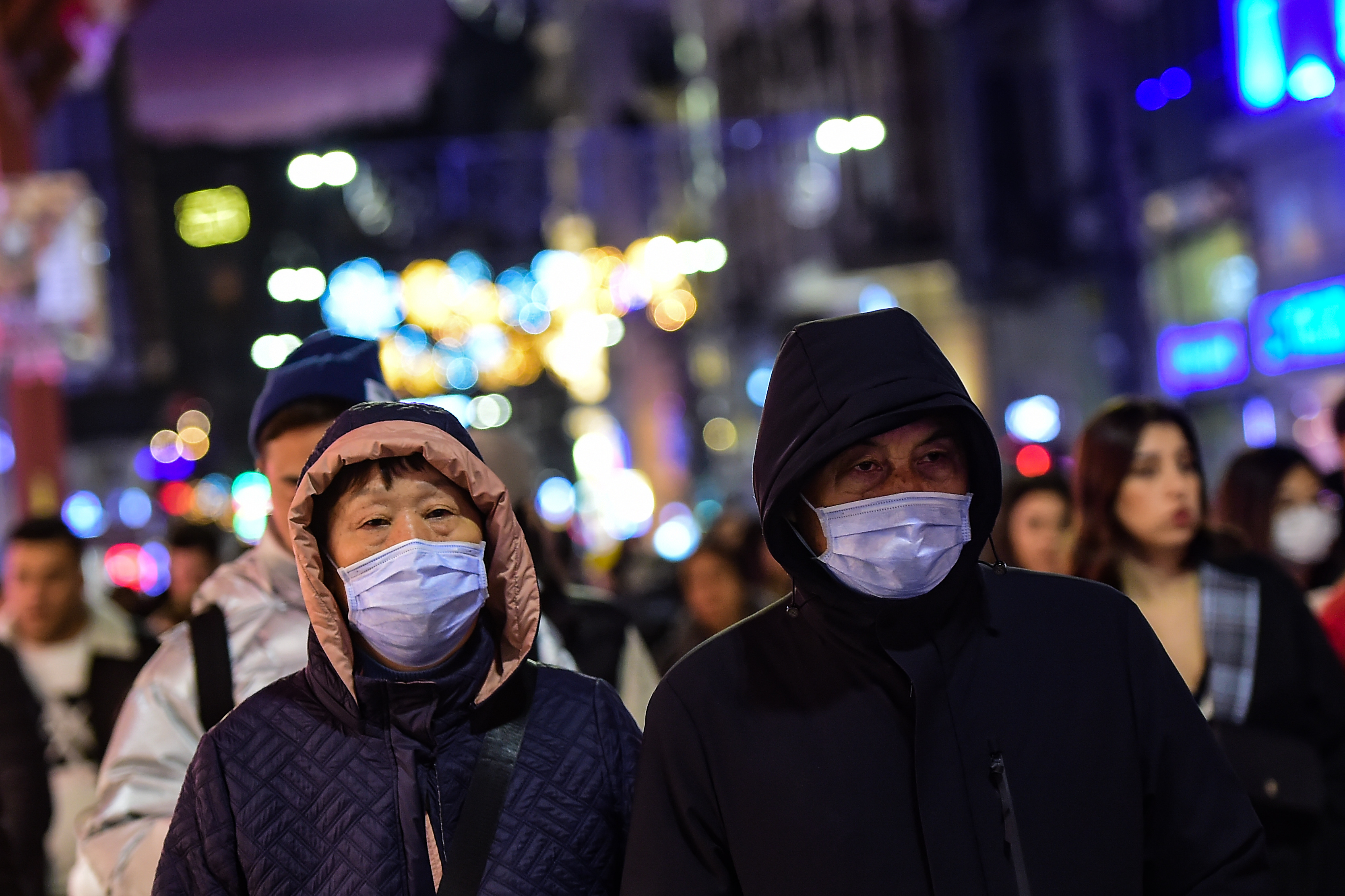 Tourists wearing face masks in Istanbul on January 31, 2020.