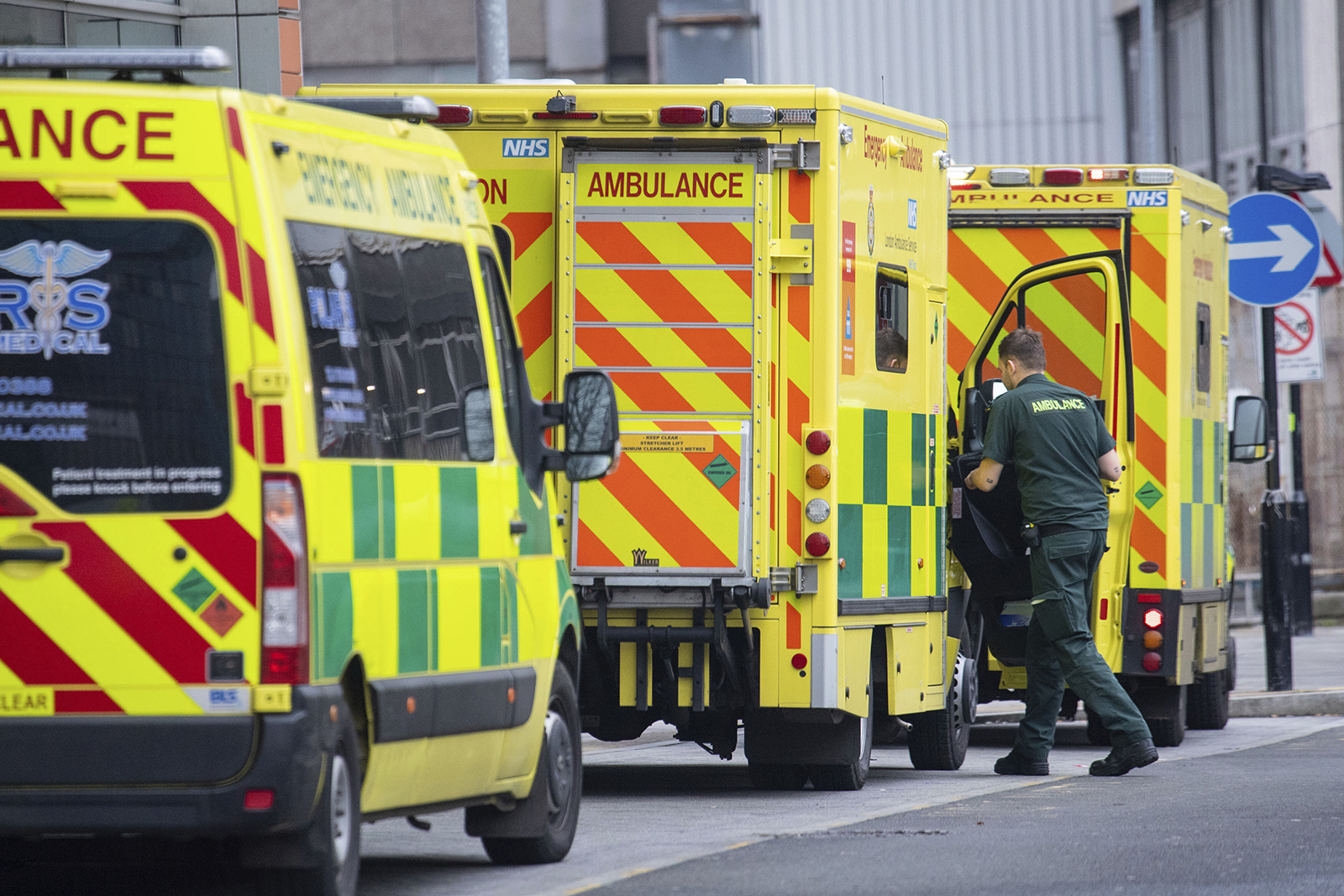 Ambulances outside the Royal London Hospital, in London on Tuesday, December 29.
