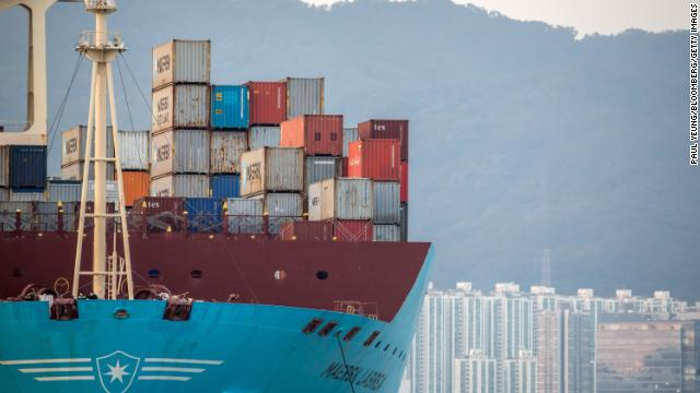 Shipping containers sit aboard cargo ship at the Kwai Tsing Container Terminal in Hong Kong.