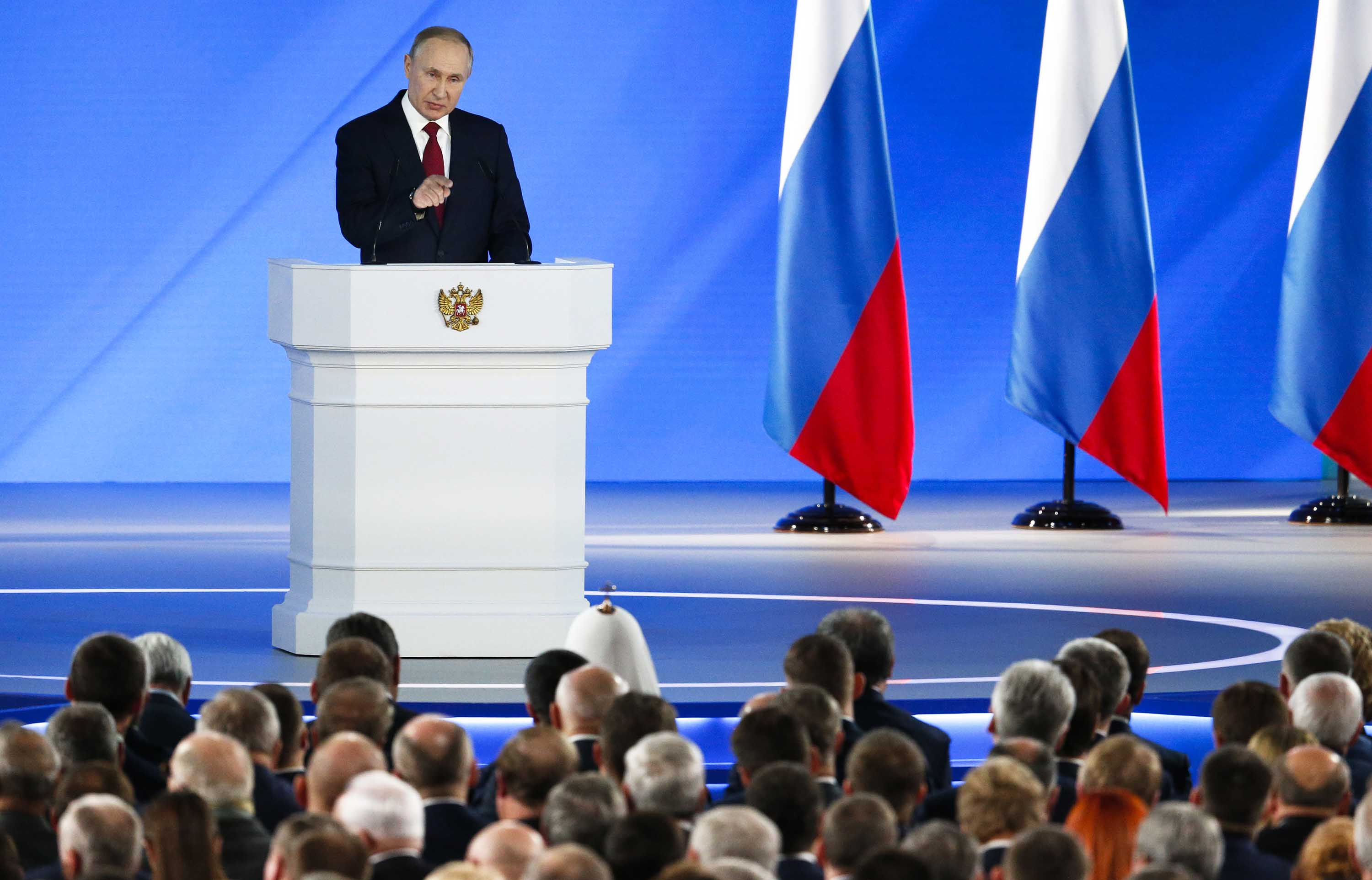Putin addresses the State Council in Moscow on Wednesday.